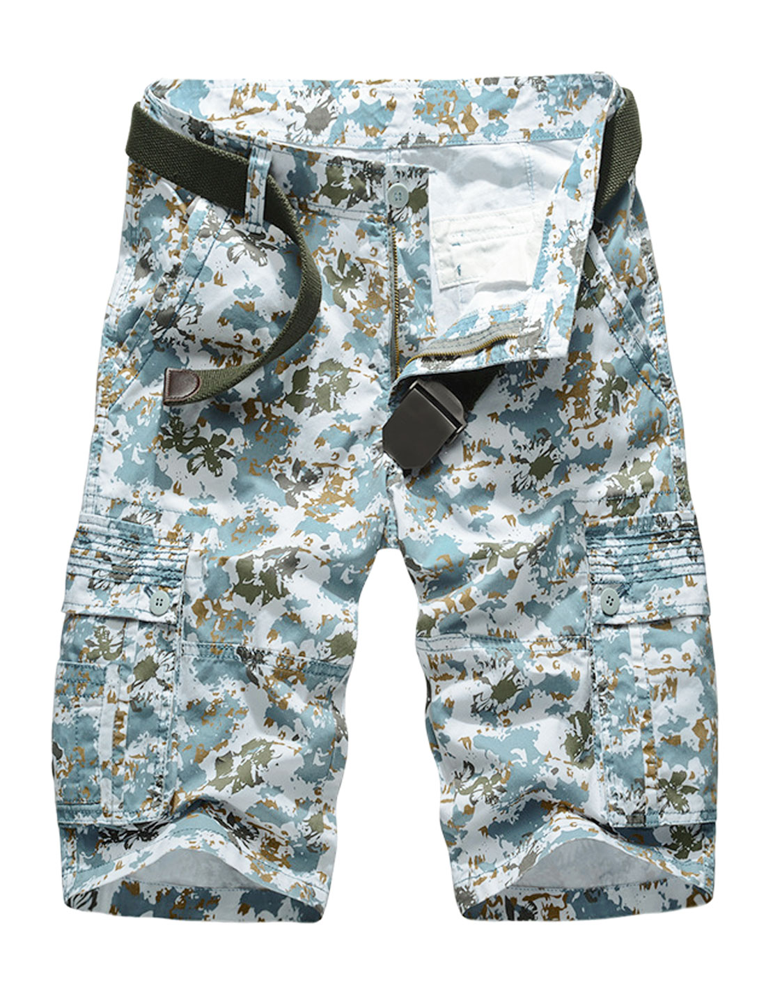 Men Floral Novelty Prints Flat Front Mid Rise Casual Cargo Shorts Turquoise W32