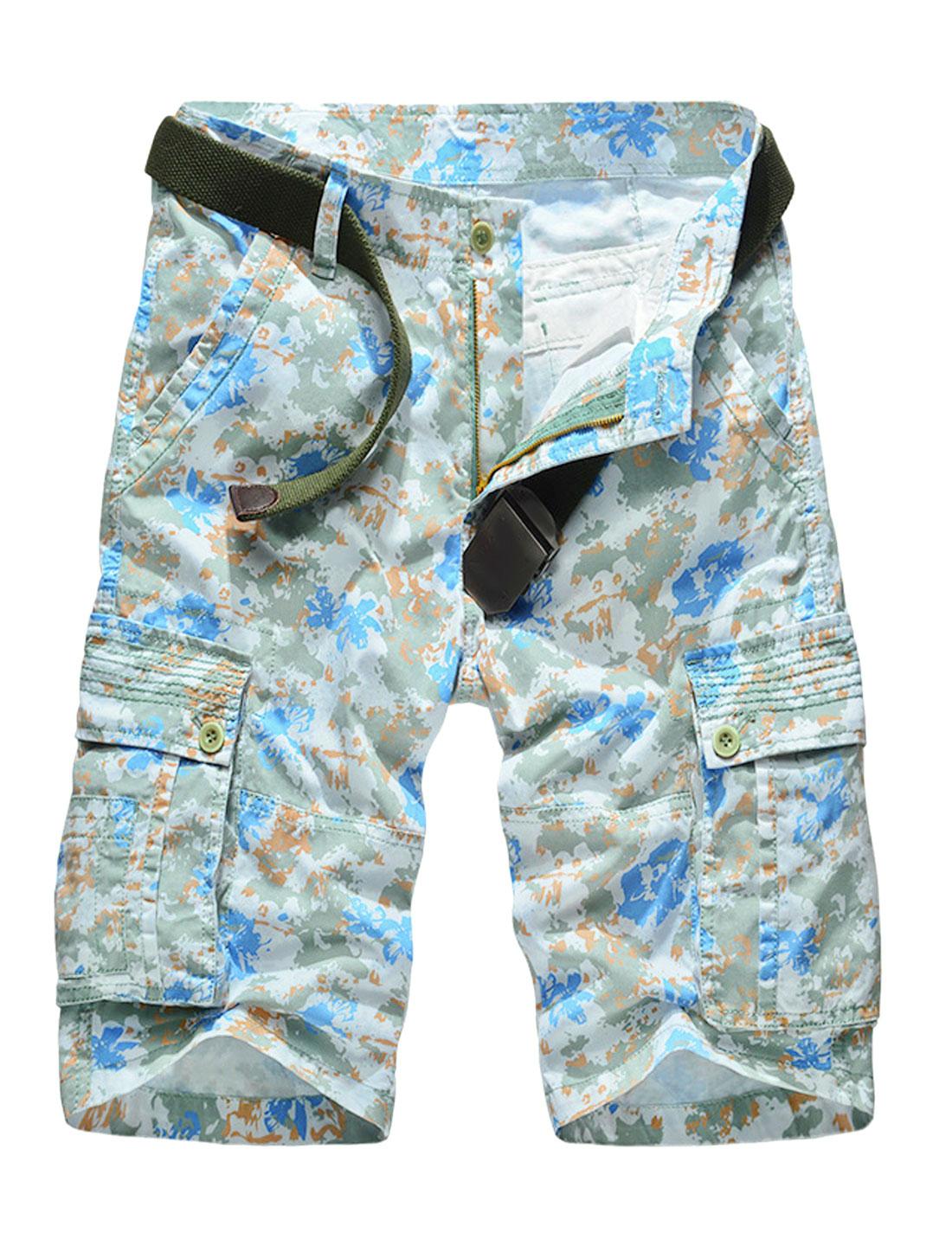 Men Floral Novelty Prints Multi-Pockets Cargo Shorts Light Blue W34