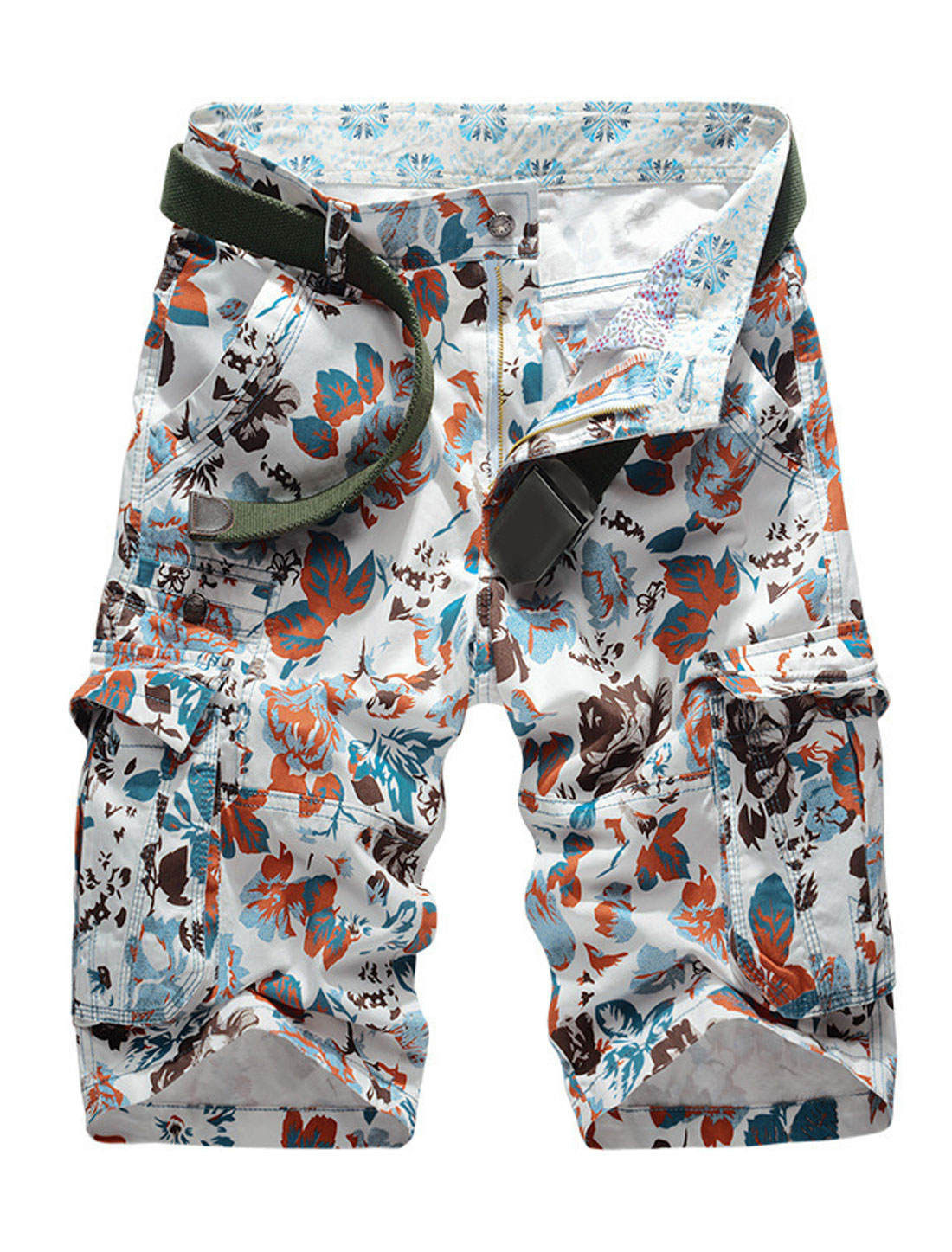 Man Flower Prints Cargo Pockets Mid Rise Flat Front Shorts Red W34