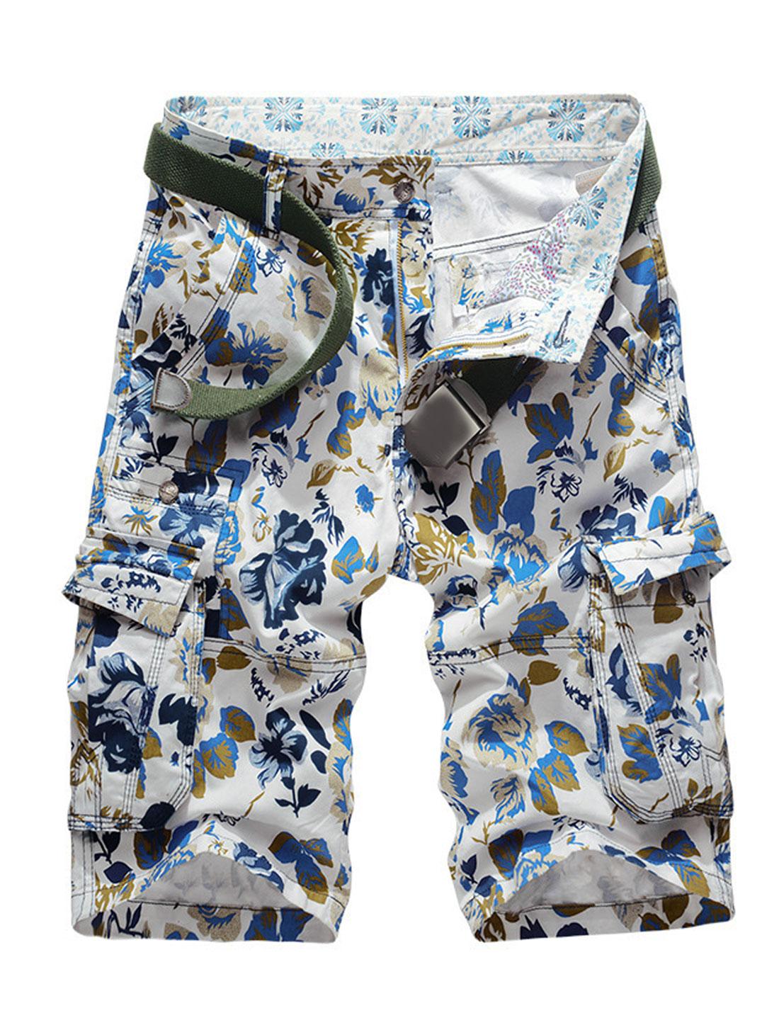 Men Flower Prints Multi-Pockets Mid Rise Leisure Cargo Shorts Dark Blue W34