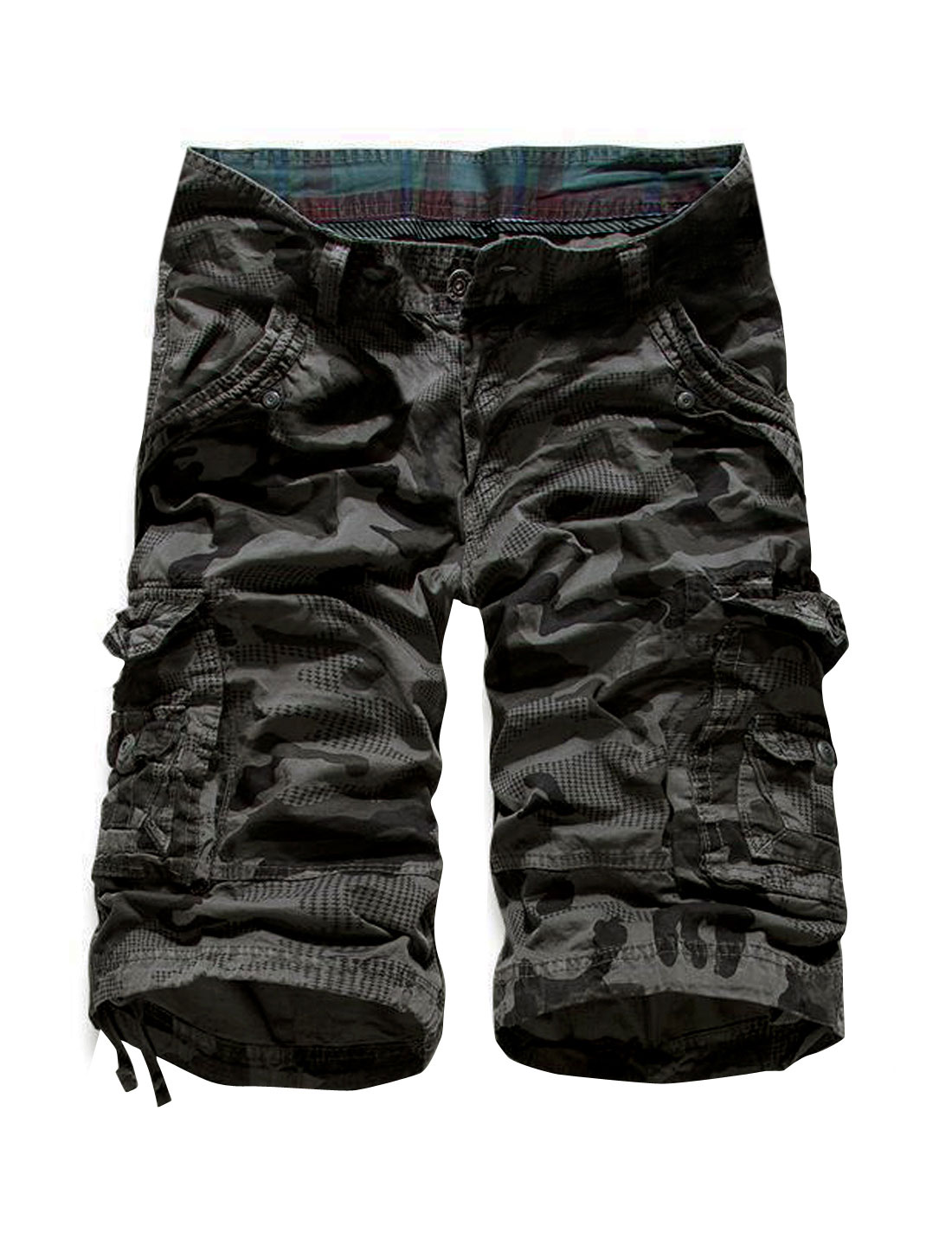 Men Mid Rise Camouflage Pattern Casual Capris Cargo Shorts Gray W36
