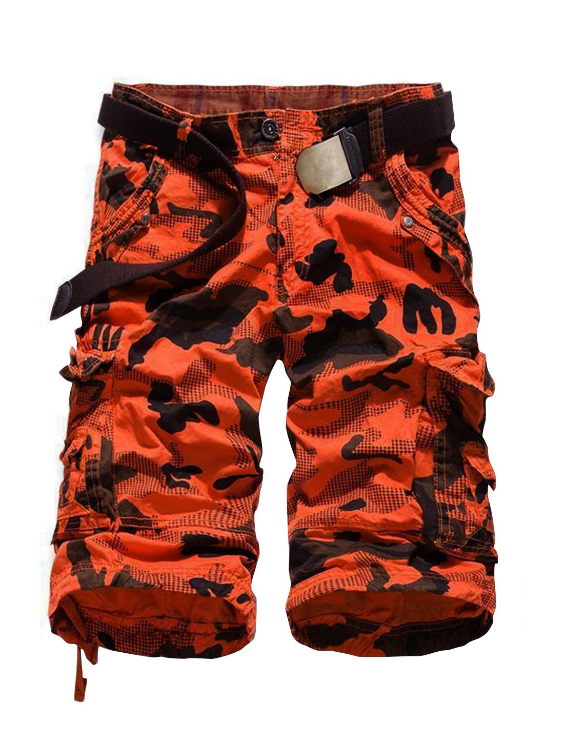 Men Mid Rise Straight Camouflage Prints Leisure Shorts Orange W36