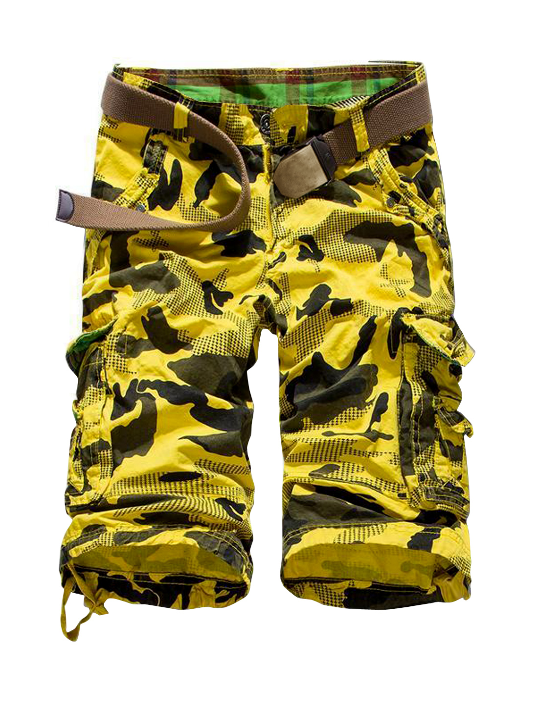 Men Belt Loops Camouflage Pattern Capris Shorts Yellow W36