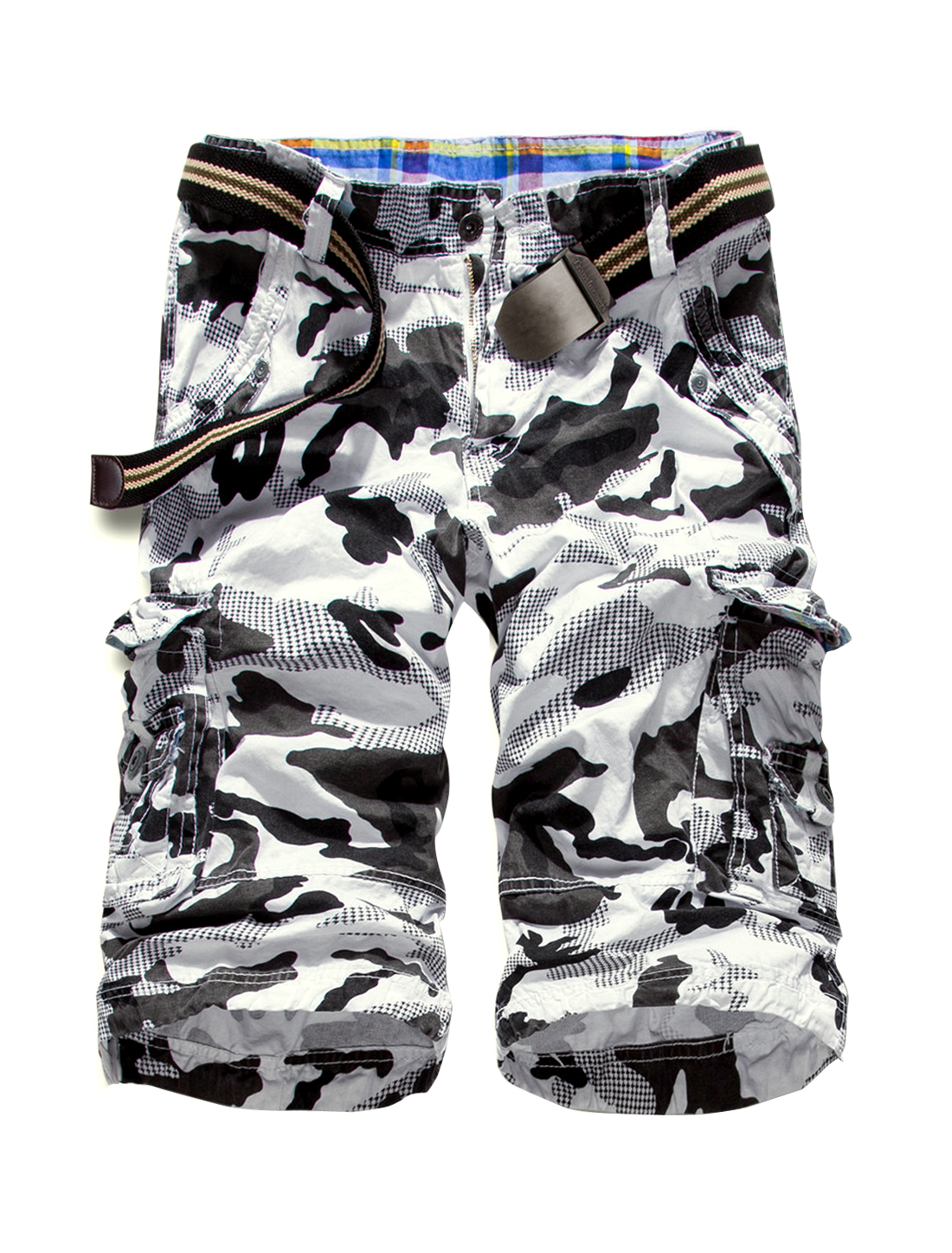 Male Natural Waist Belted Loops Straight Camouflage Shorts White W36