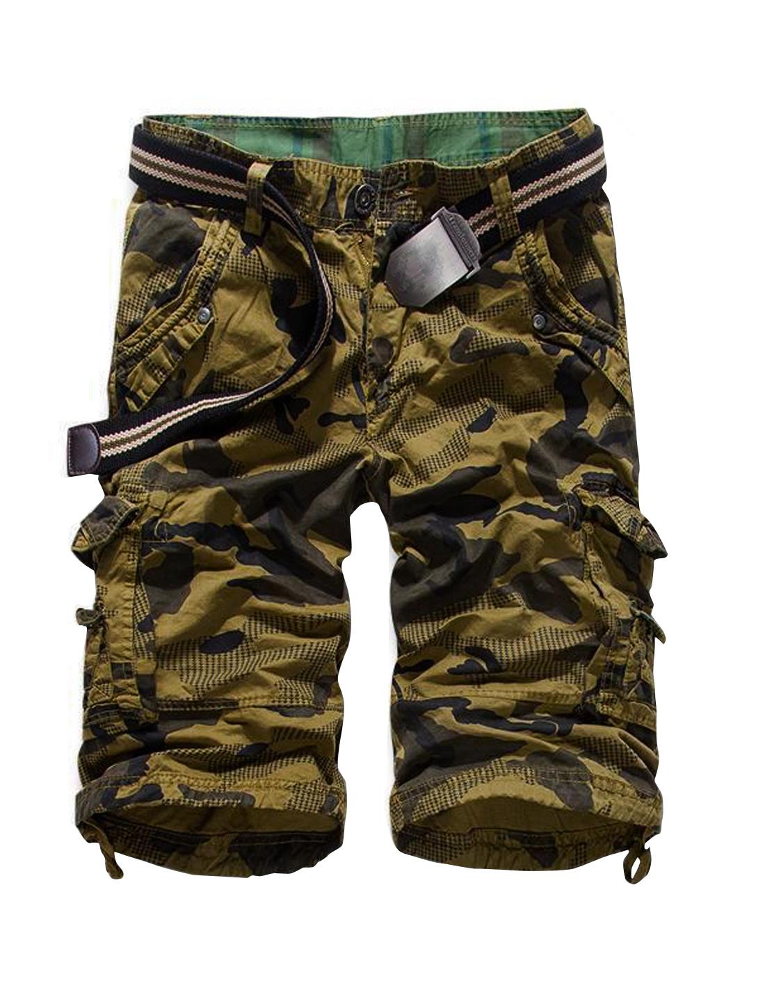 Male Mid Waist Cargo Pockets Camouflage Straight Shorts Khaki W36