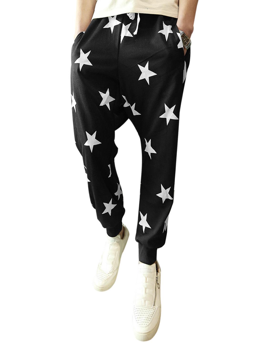 Men Stars Pattern Drawstring Waist Ribbed Cuffs Harem Pants Black W30