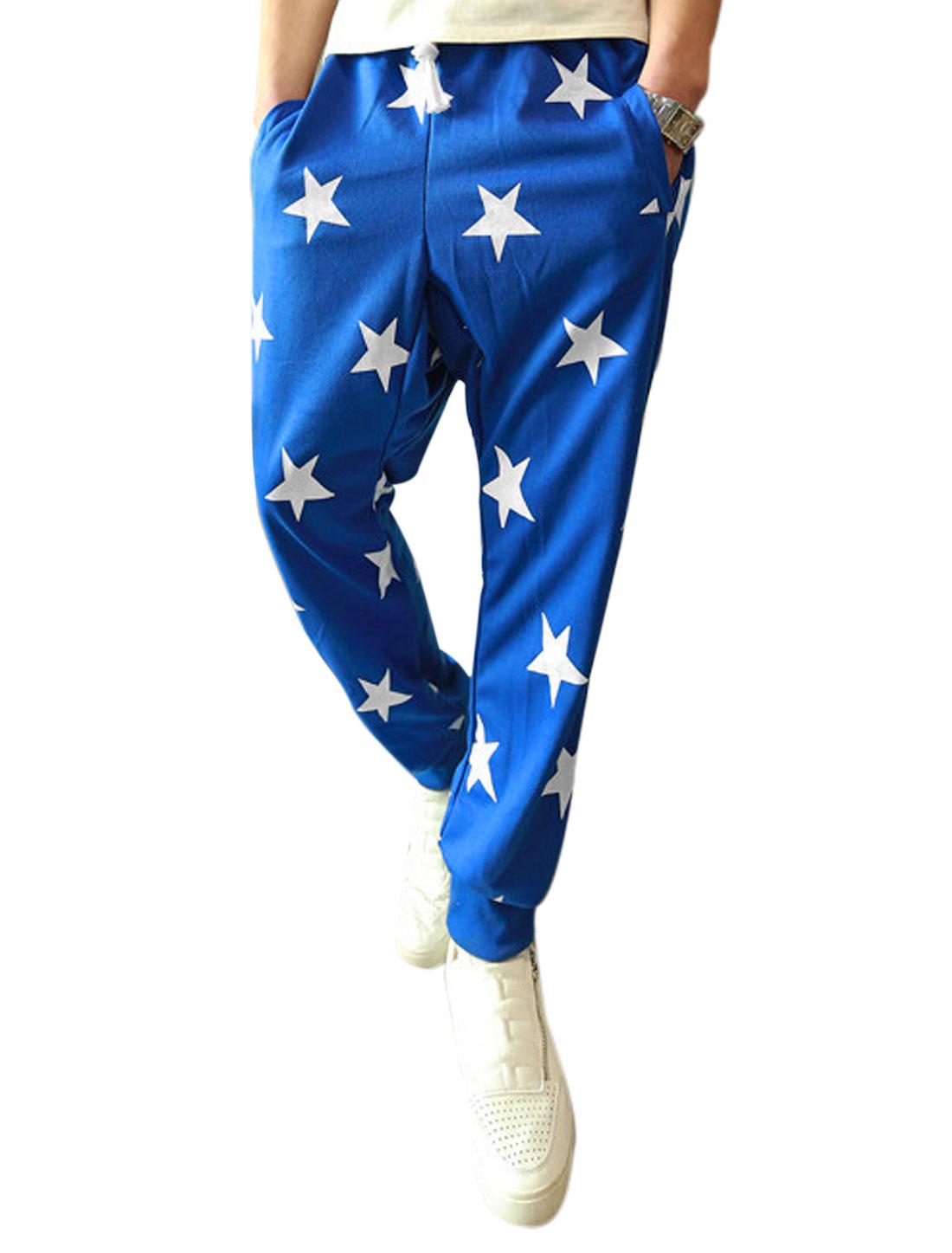 Men Stars Pattern Elastic Drawstring Waist Casual Pants Blue W30