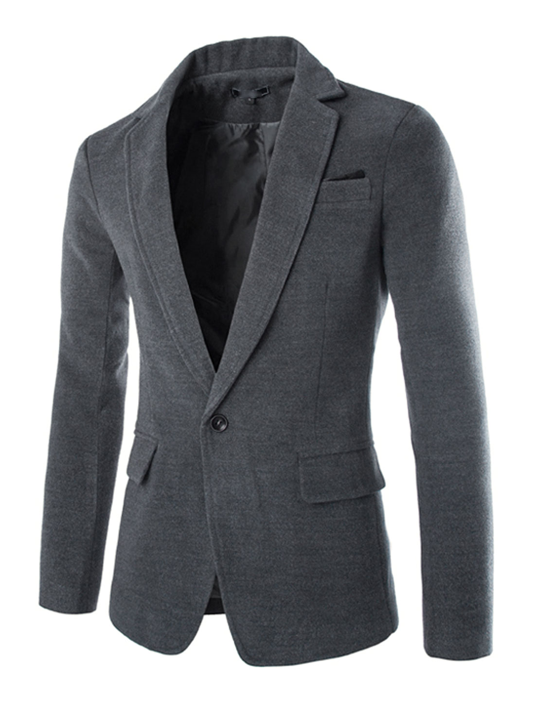 Men Long Sleeve Notched Lapel Single Breasted Split Back Casual Blazer Dark Gray M