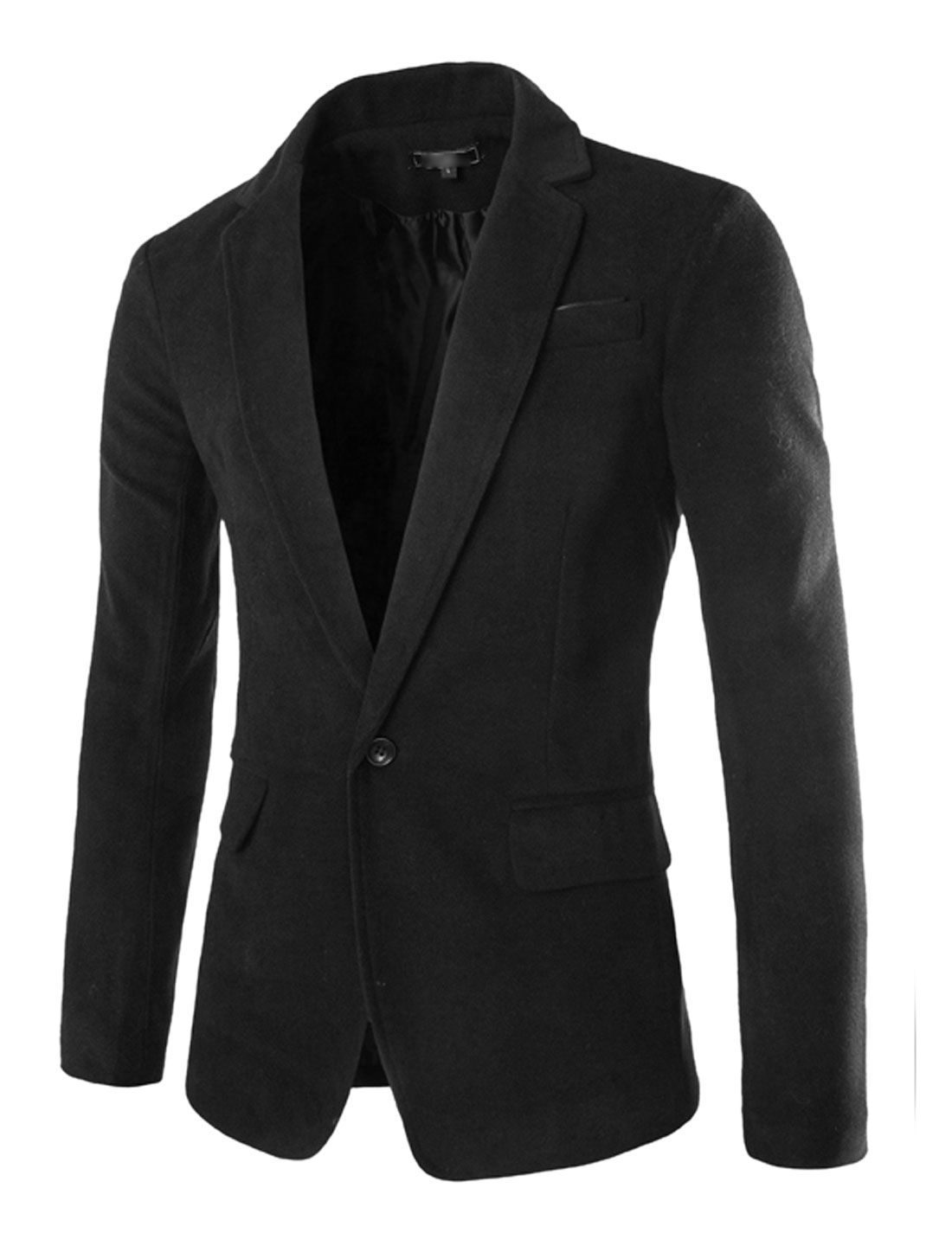 Men Long Sleeve Notched Lapel One Button Closure Blazer Jacket Black M