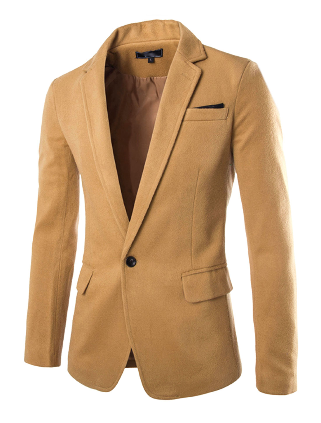 Men Notched Lapel Long Sleeve Single Breasted Slim Fit Blazers Camel M