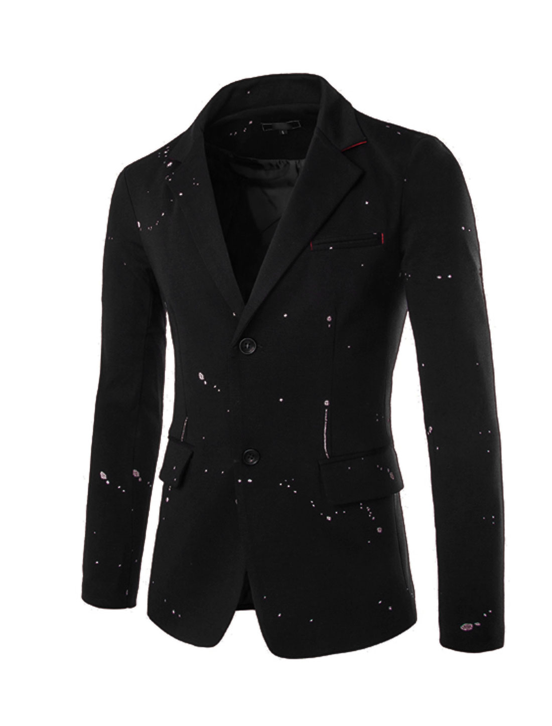 Men Long Sleeves Two Buttons Closure Front Blazer Black M