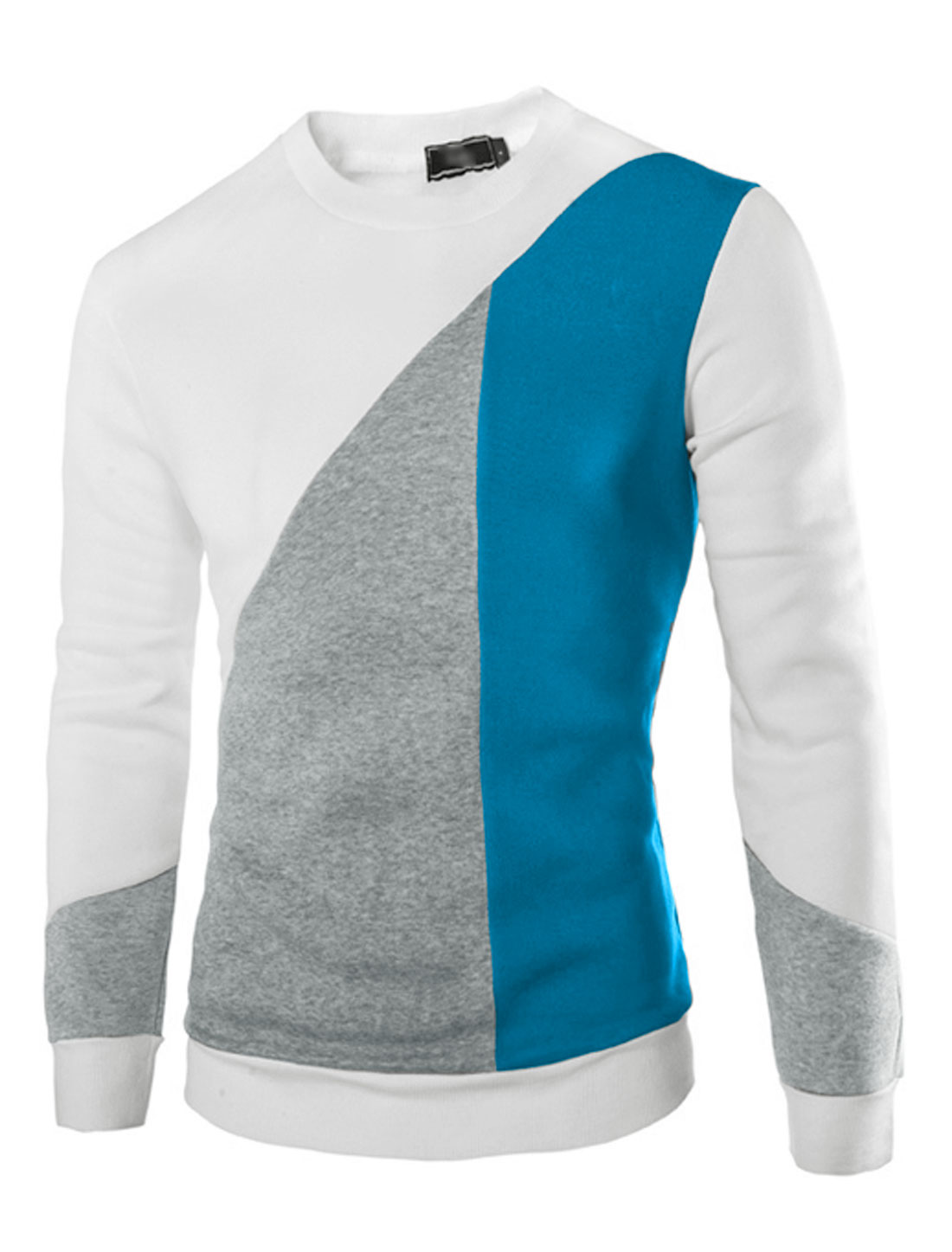 Men Color Block Soft Lined Long Sleeves Leisure Sweatshirt White M