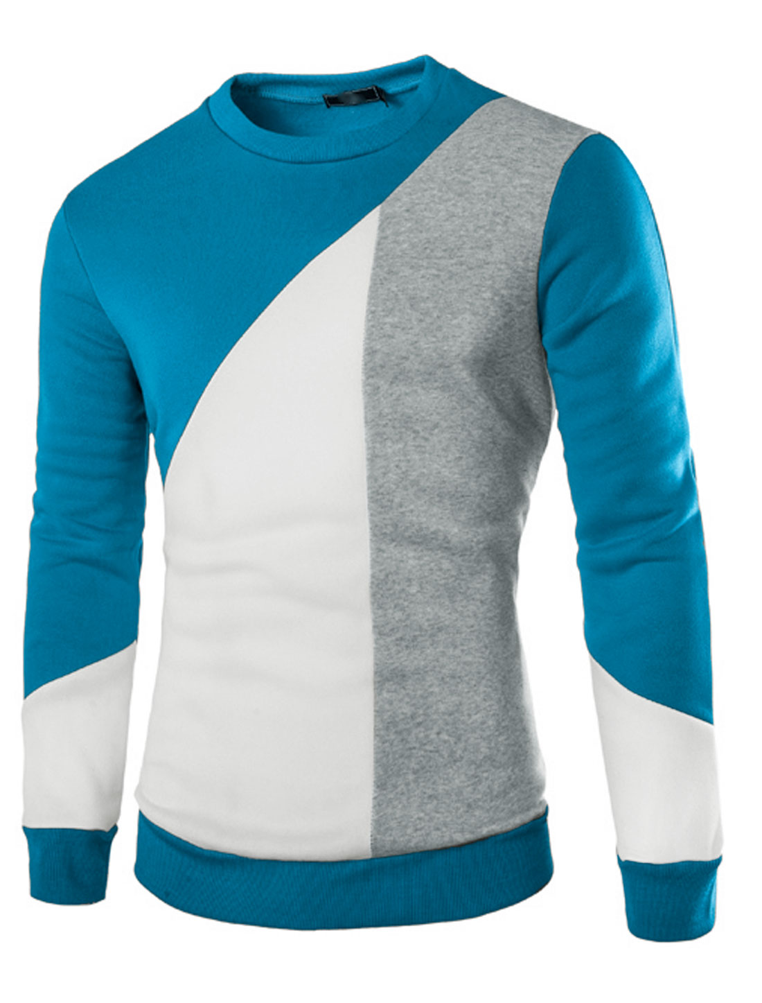 Men Color Block Ribbed Trim Crew Neck Sweatshirt Blue M