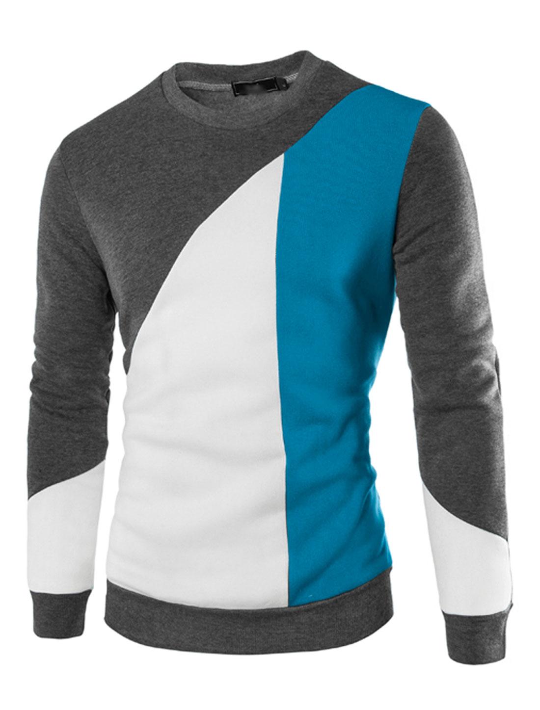 Men Color Block Soft Lined Long Sleeves Crew Neck Sweatshirt Dark Gray M