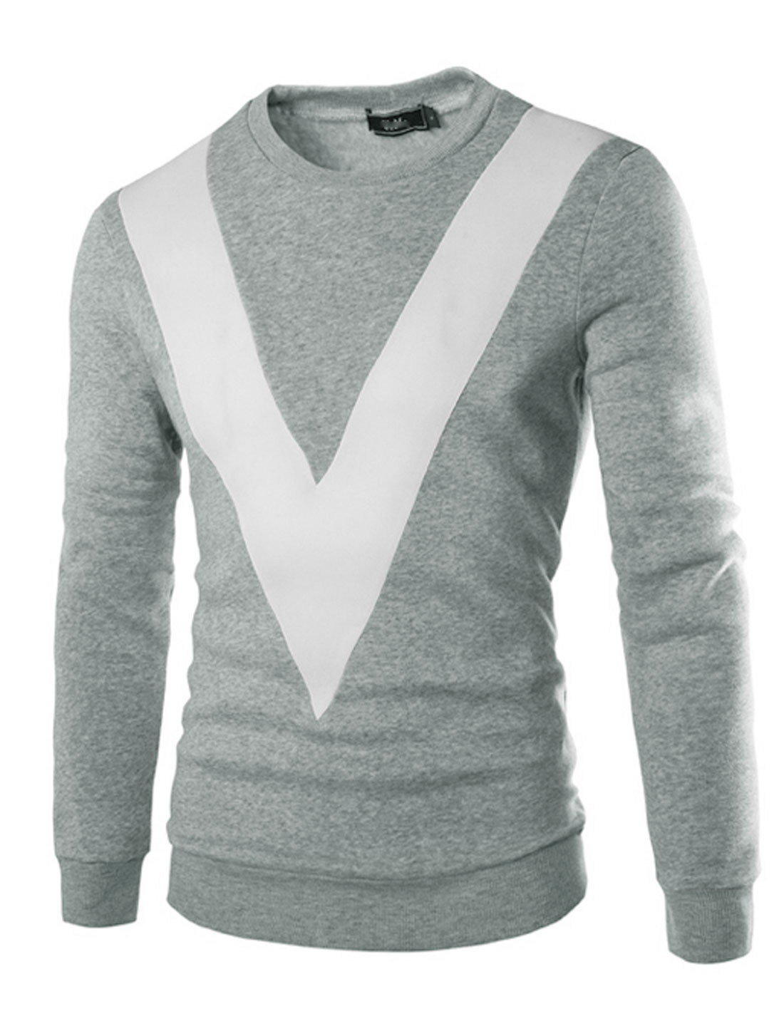 Man Contrast Color V-Shaped Panel Long Sleeves Sweatshirt Light Gray M