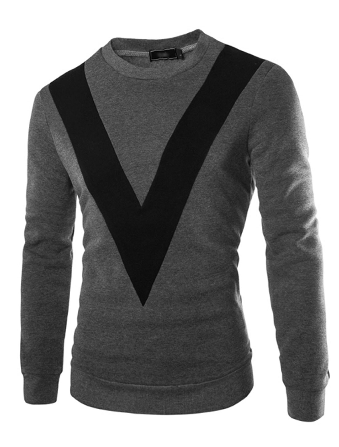 Man Contrast Color V-Shaped Panel Crew Neck Sweatshirt Dark Gray M
