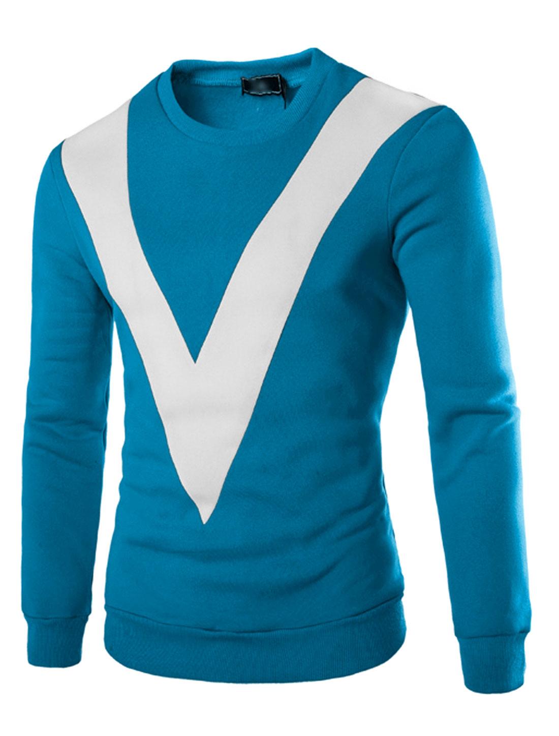 Man Contrast Color V-Shaped Panel Soft Lined Sweatshirt Blue M