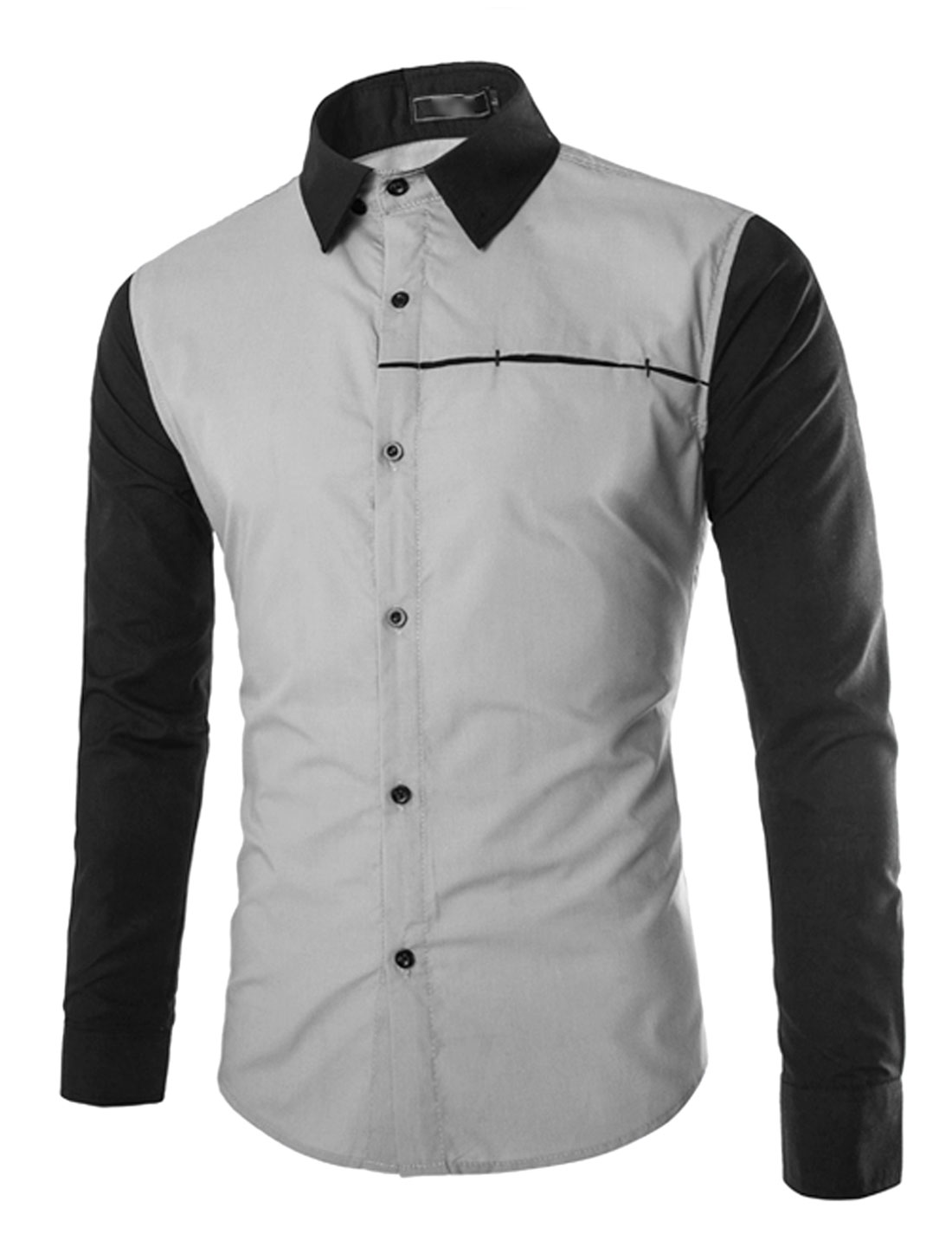 Men Long Sleeve Button Down Slim Fit Contrast Color Shirts Gray S