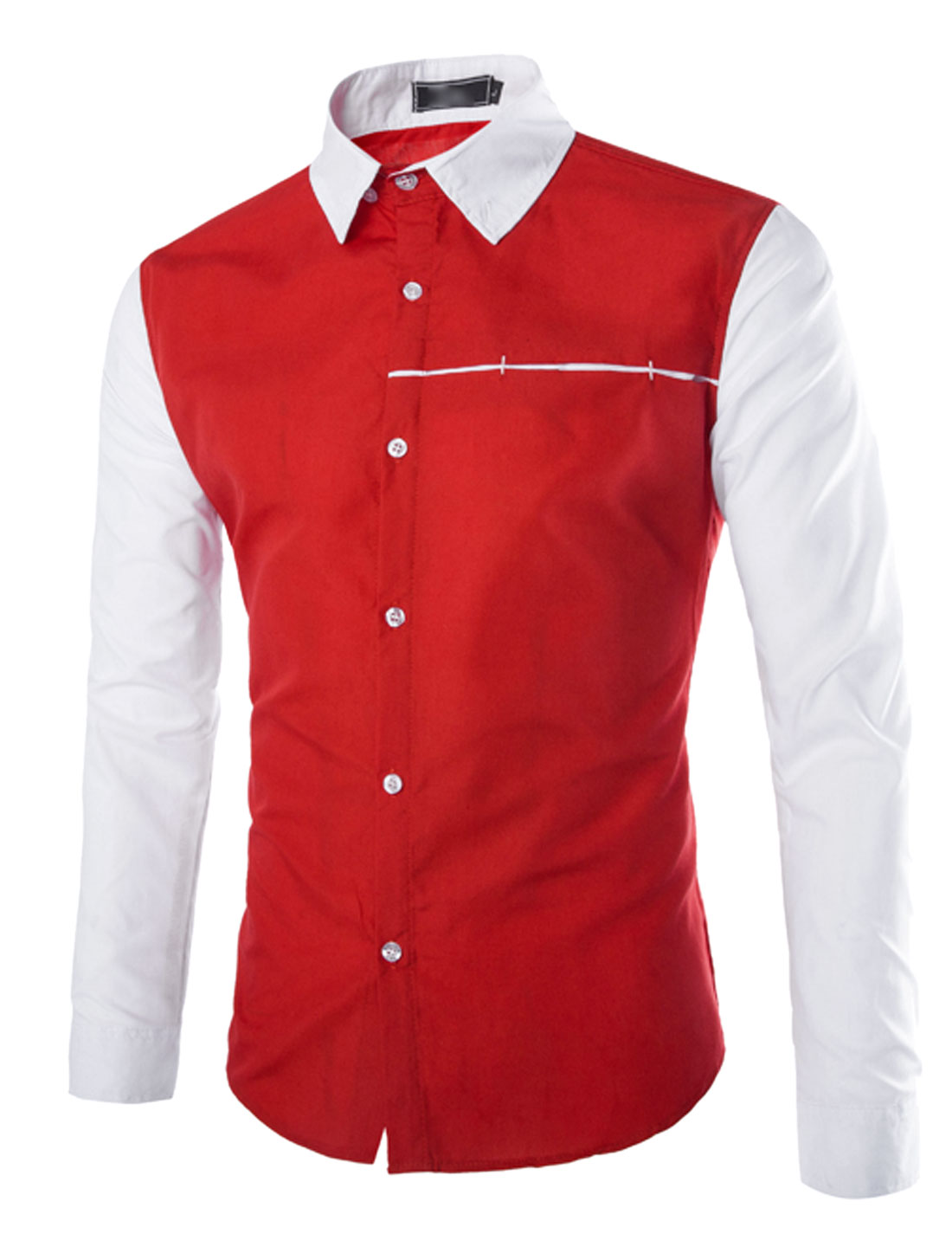 Men Long Sleeve Point Collar Button Closure Slim Fit Shirts Red S