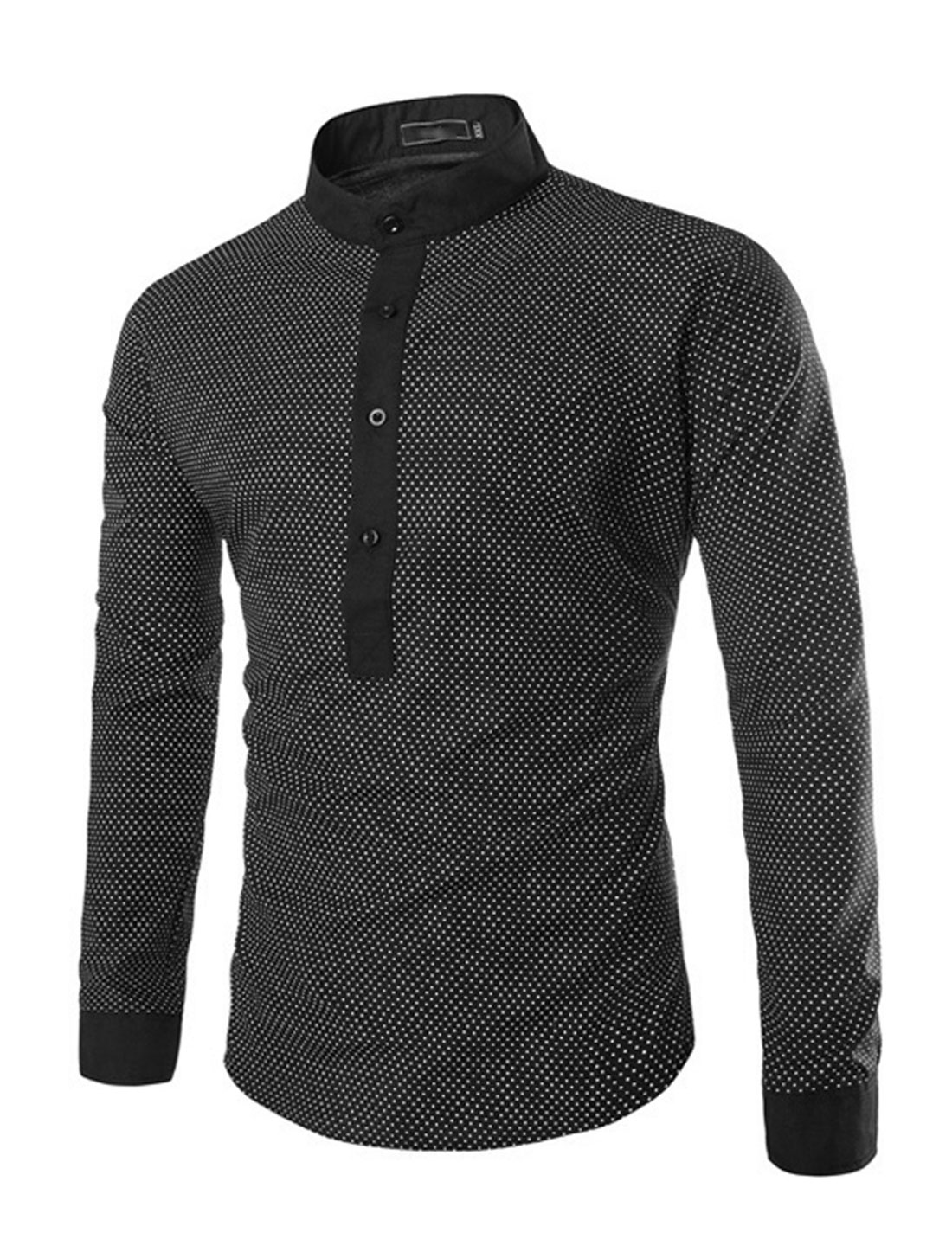 Men Stand Collar Long Sleeve Dots Shirts Black White S
