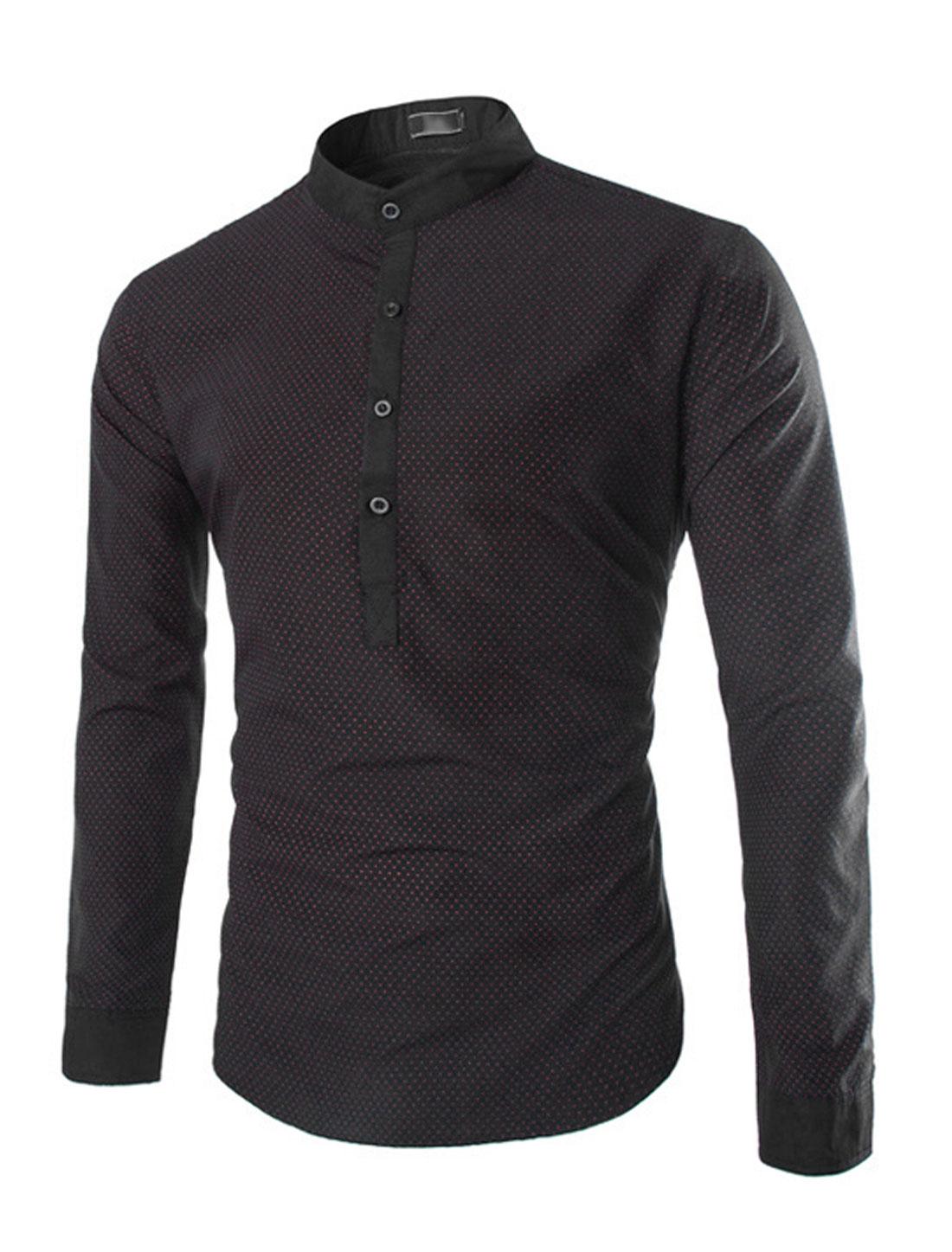 Men Half Placket Dots Casual Shirts Black Red S