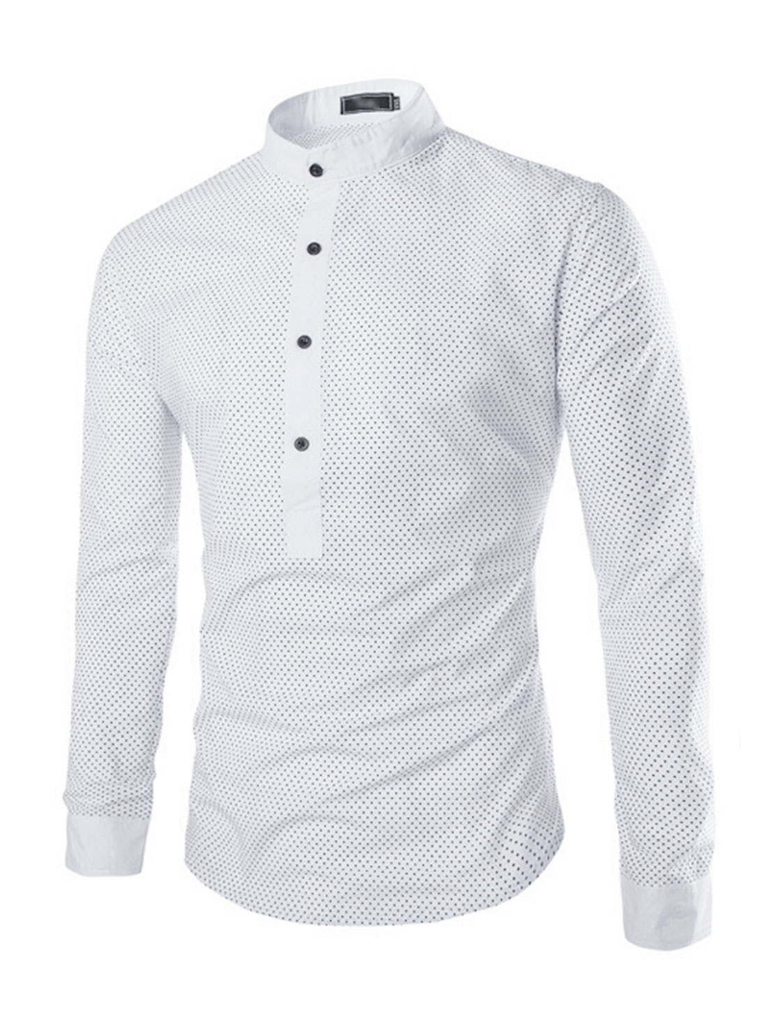Men Long Sleeves Leisure Dots Tops White S