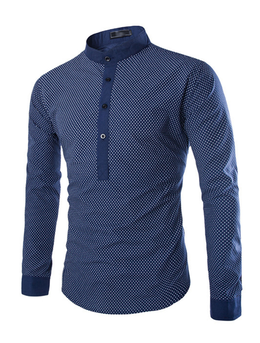Men Stand Collar Half Placket Dots Leisure Top Navy Blue S