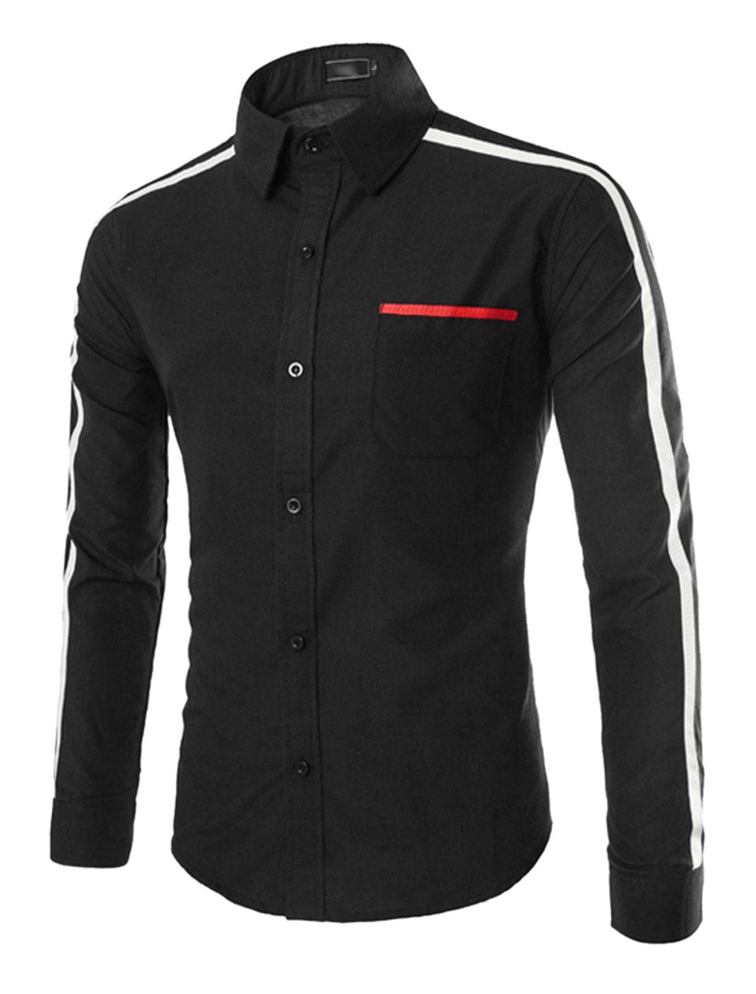 Men Stripes Detail Point Collar Button Down Slim Fit Shirts Black S