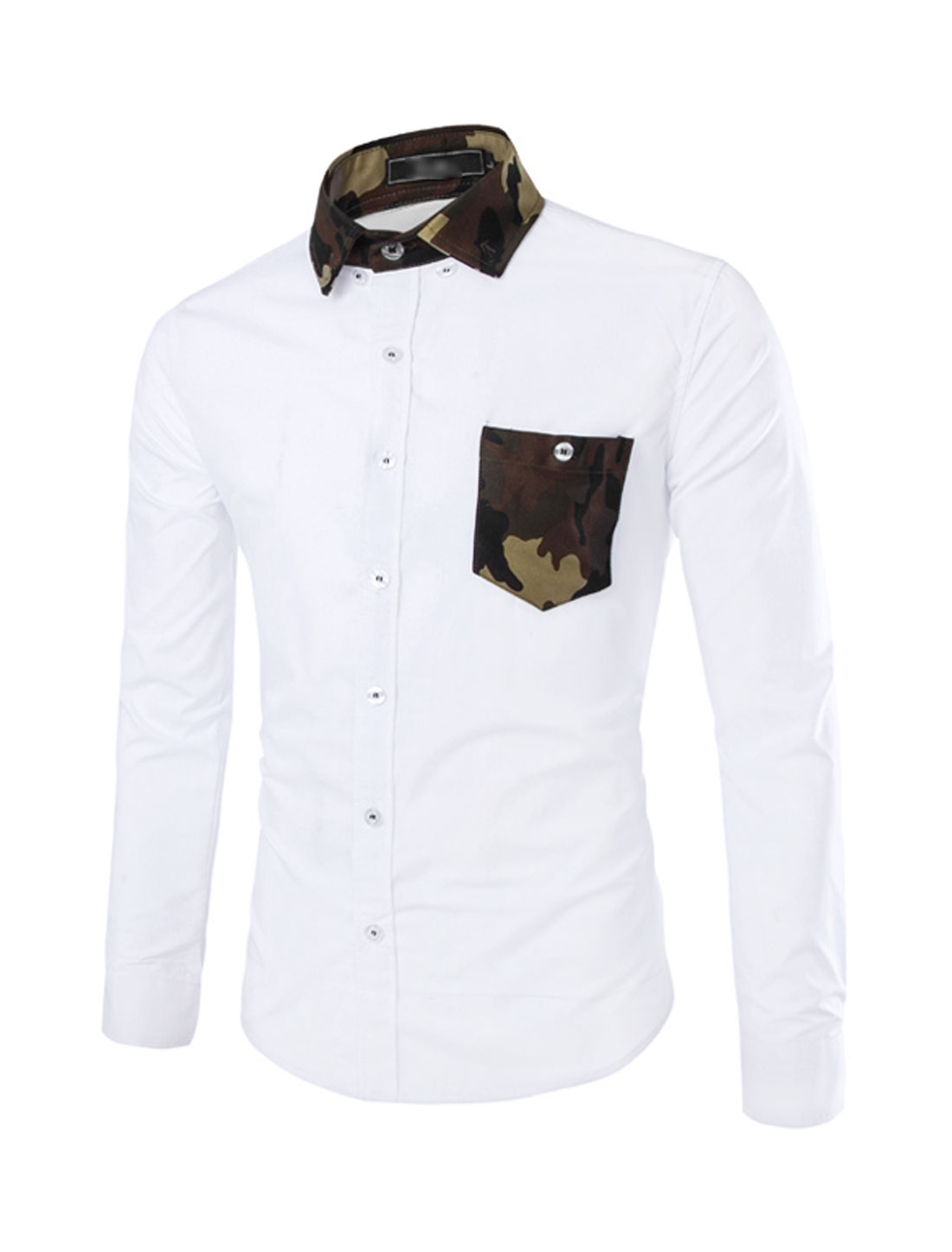 Men Point Collar Button Down Camouflage Print Detail Shirts White S
