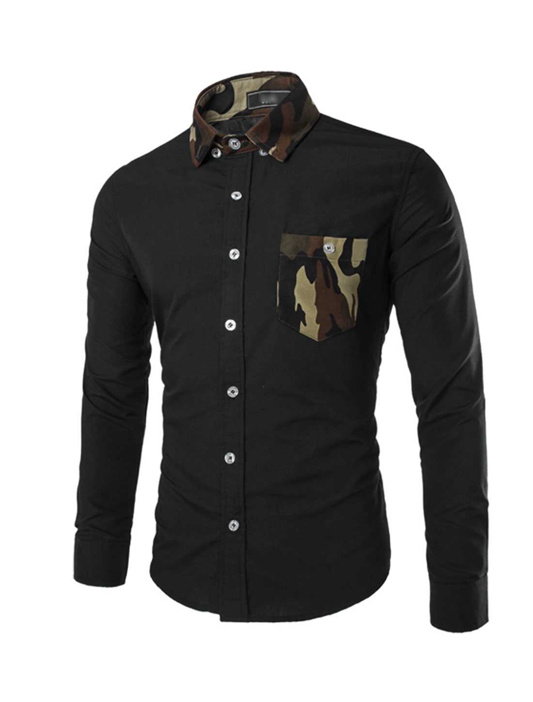 Men Long Sleeve Point Collar Button Down Camouflage Print Detail Shirt Black S