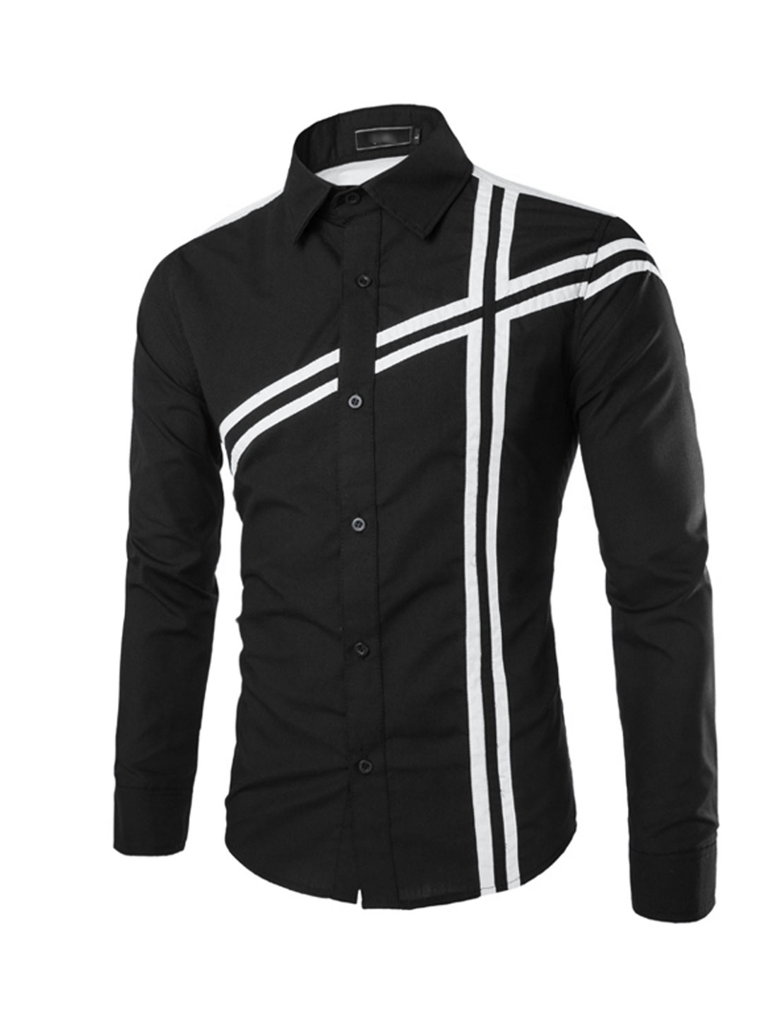 Men Button Closure Long Sleeve Slim-Fit Casual Dress Shirts S