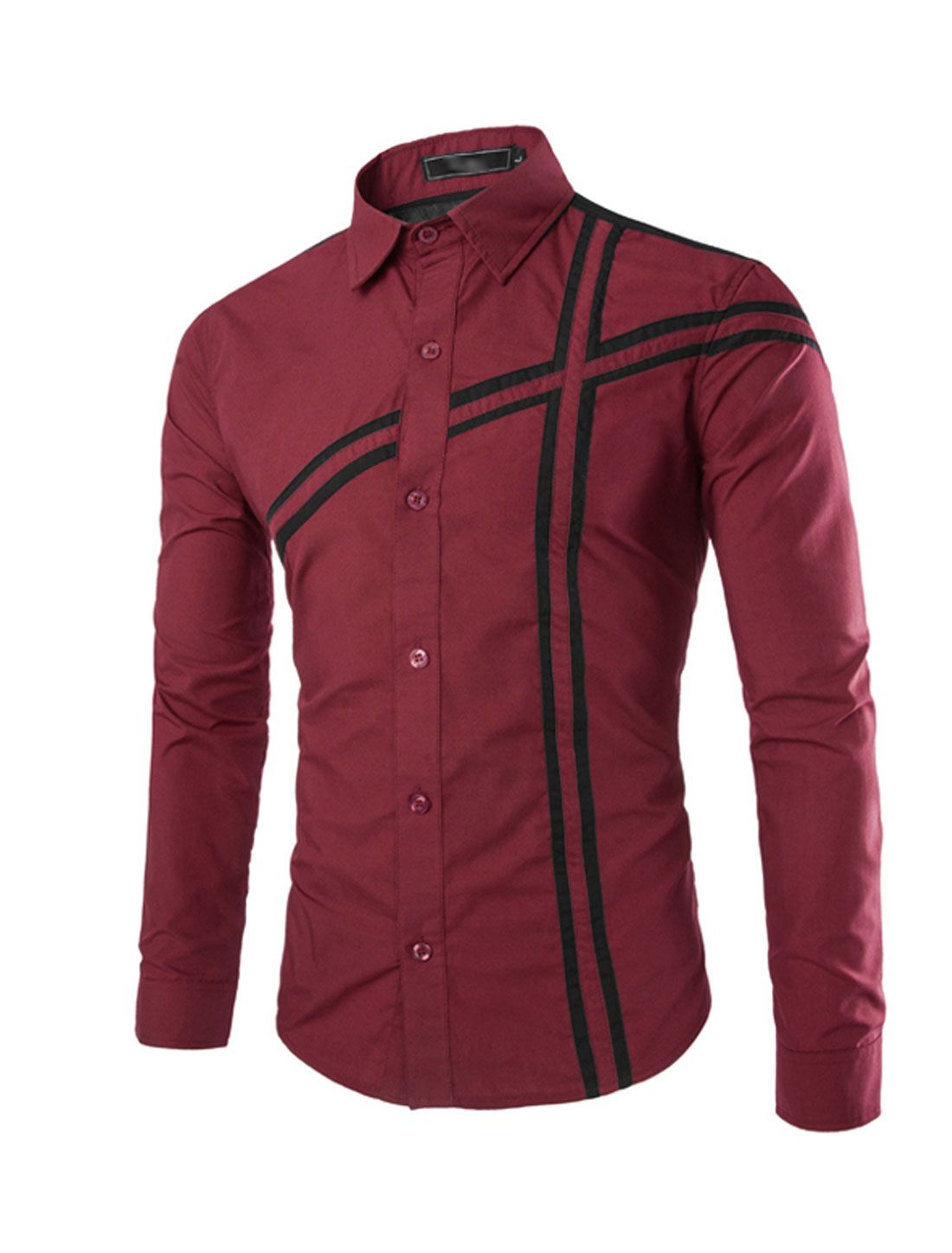 Men Button Down Long-Sleeve Striped Dress Shirt Burgundy Black S
