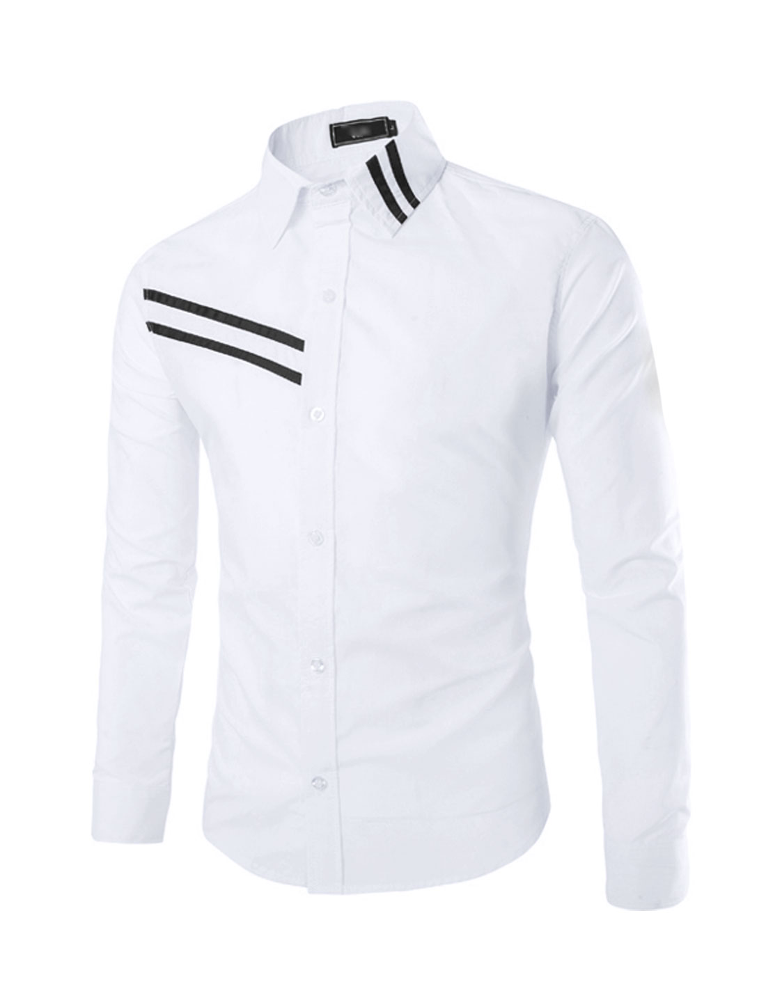 Men Point Collar Long Sleeve Slim-Fit Casual Shirt White S