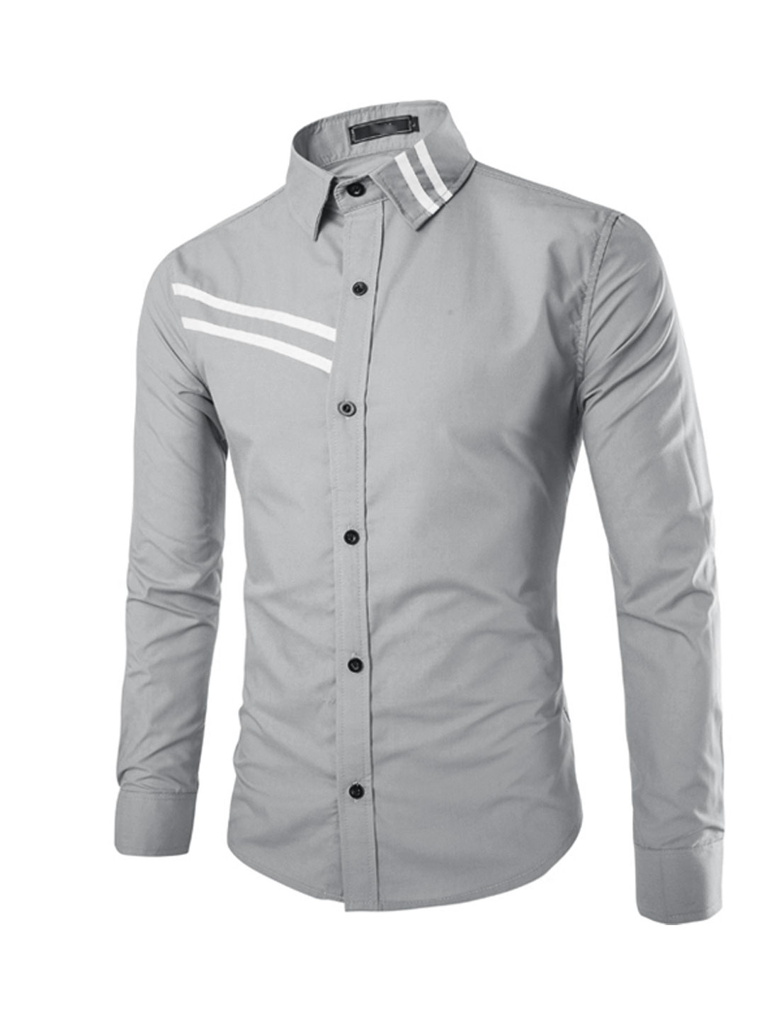 Men Point Collar Button Front Applique Detail Long Sleeve Shirts Gray S