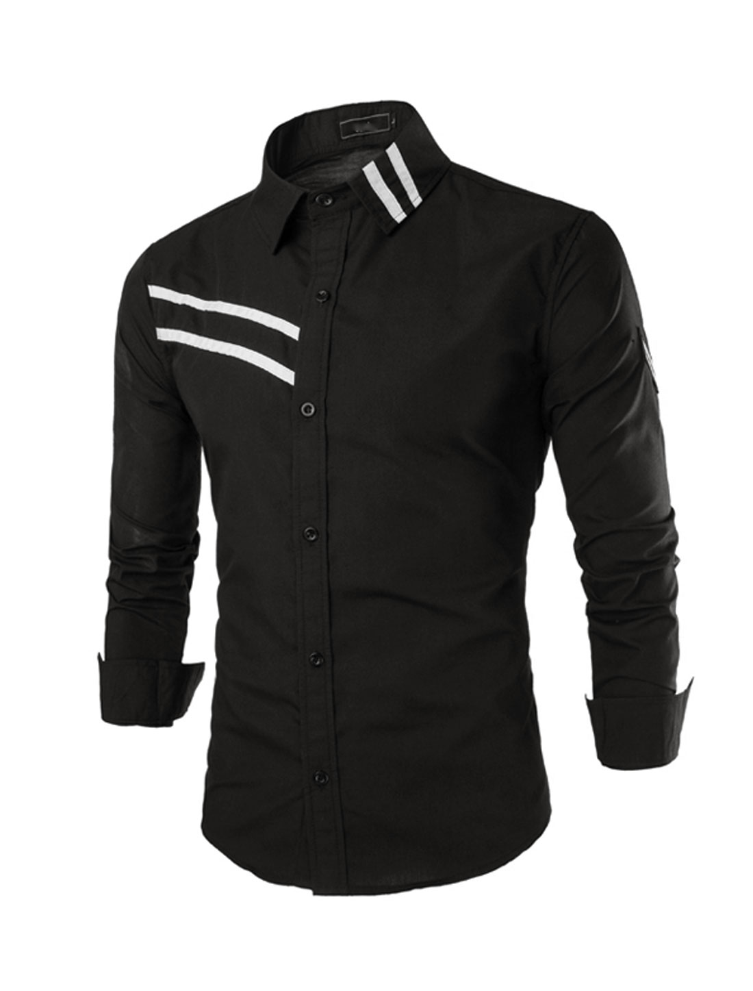 Men Button Down Long Sleeve Stripes Detail Casual Shirt Black S