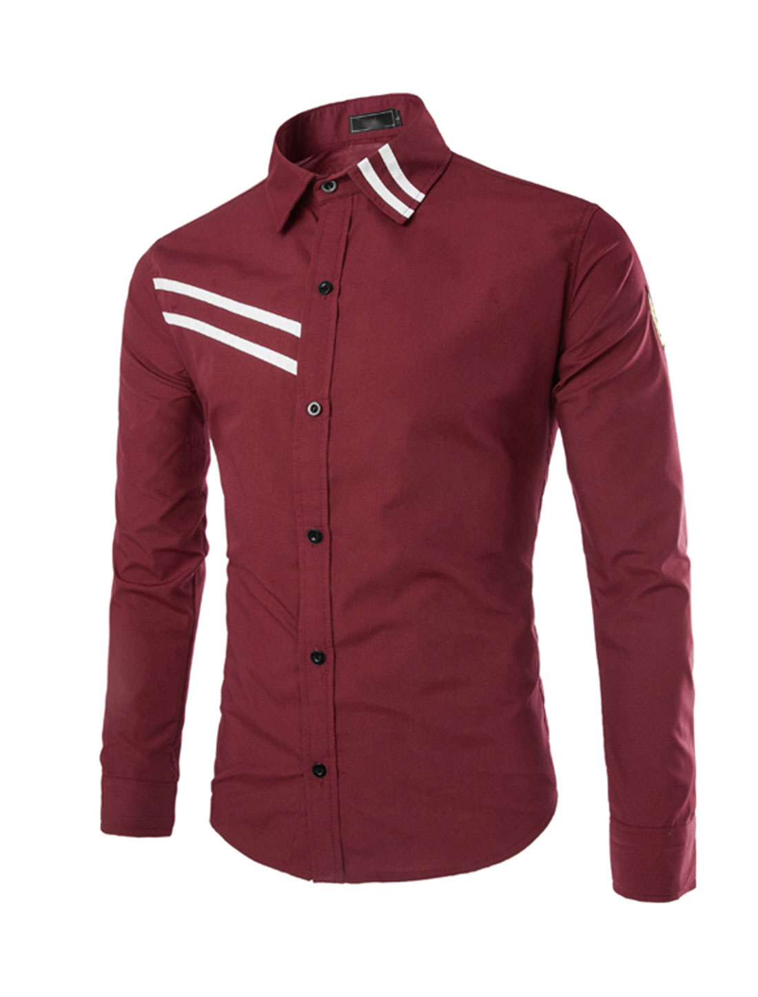 Men Point Collar Button Down Stripes Detail Shirts Burgundy S