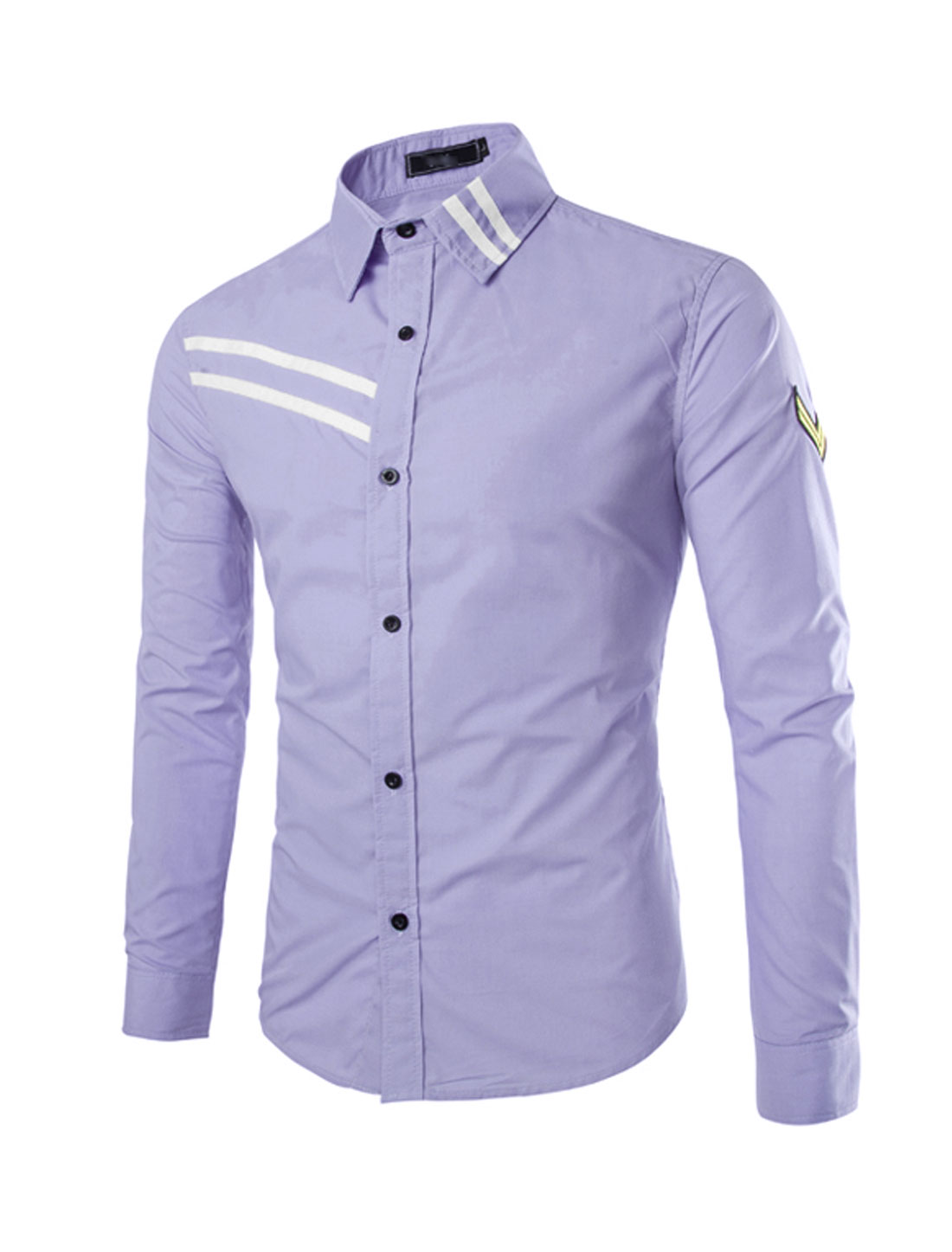 Men Button Down Long Sleeve Applique Detail Shirt Lavender S