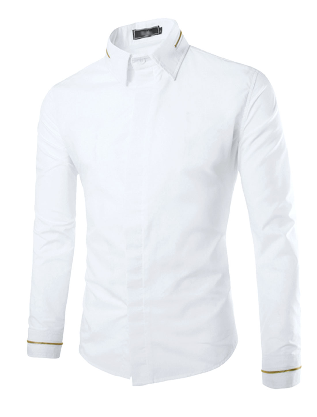 Men Long Sleeve Point Collar Hidden Button Down Casual Shirt White S
