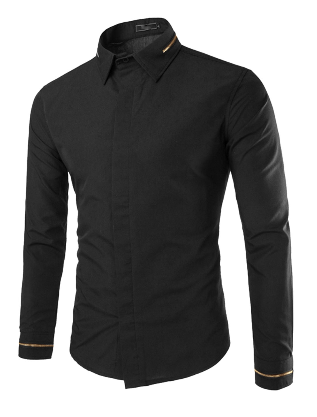 Men Long Sleeve Point Collar Hidden Button Front Shirts Black S