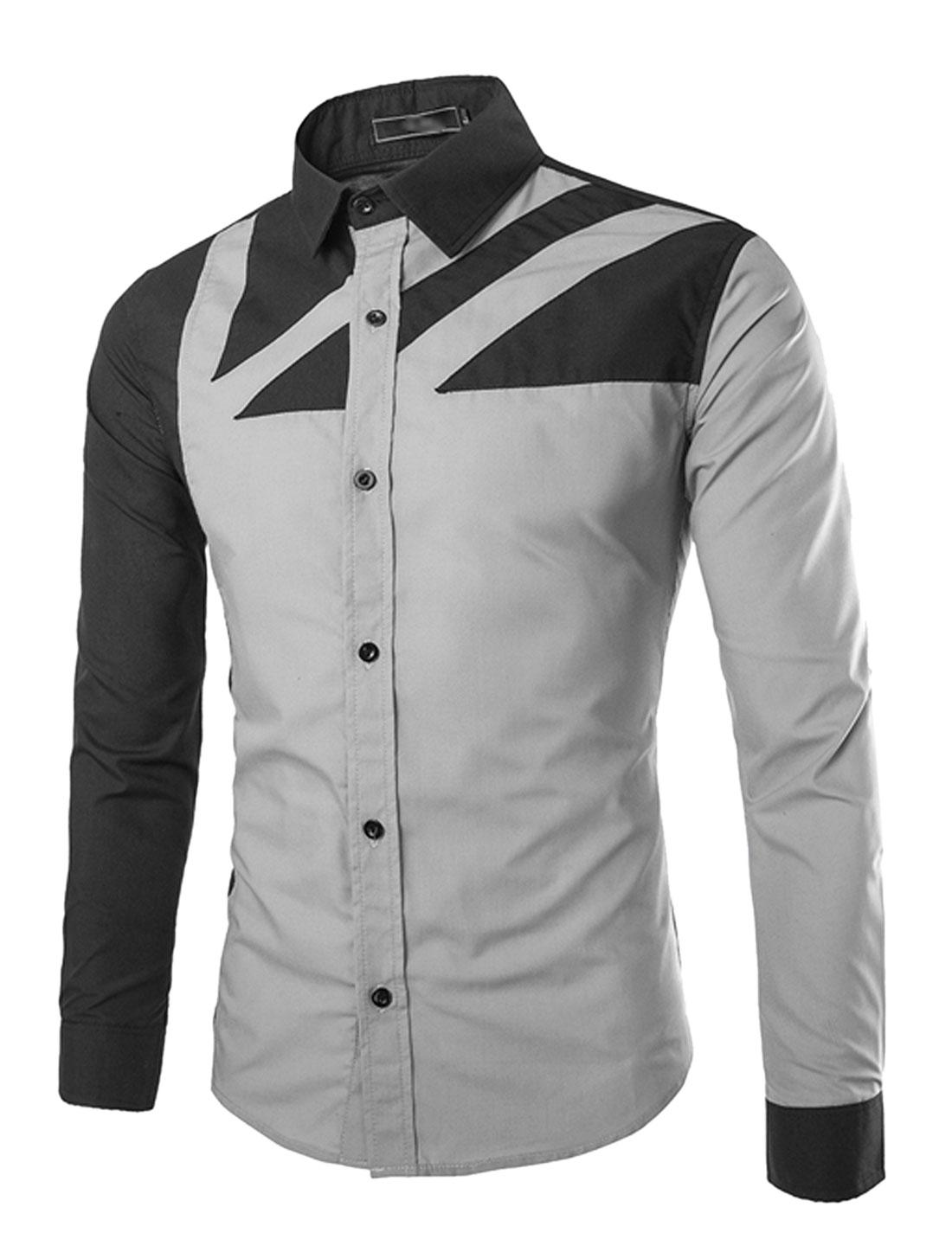 Men Long Sleeve Point Collar Button Down Slim Cut Shirts Gray S