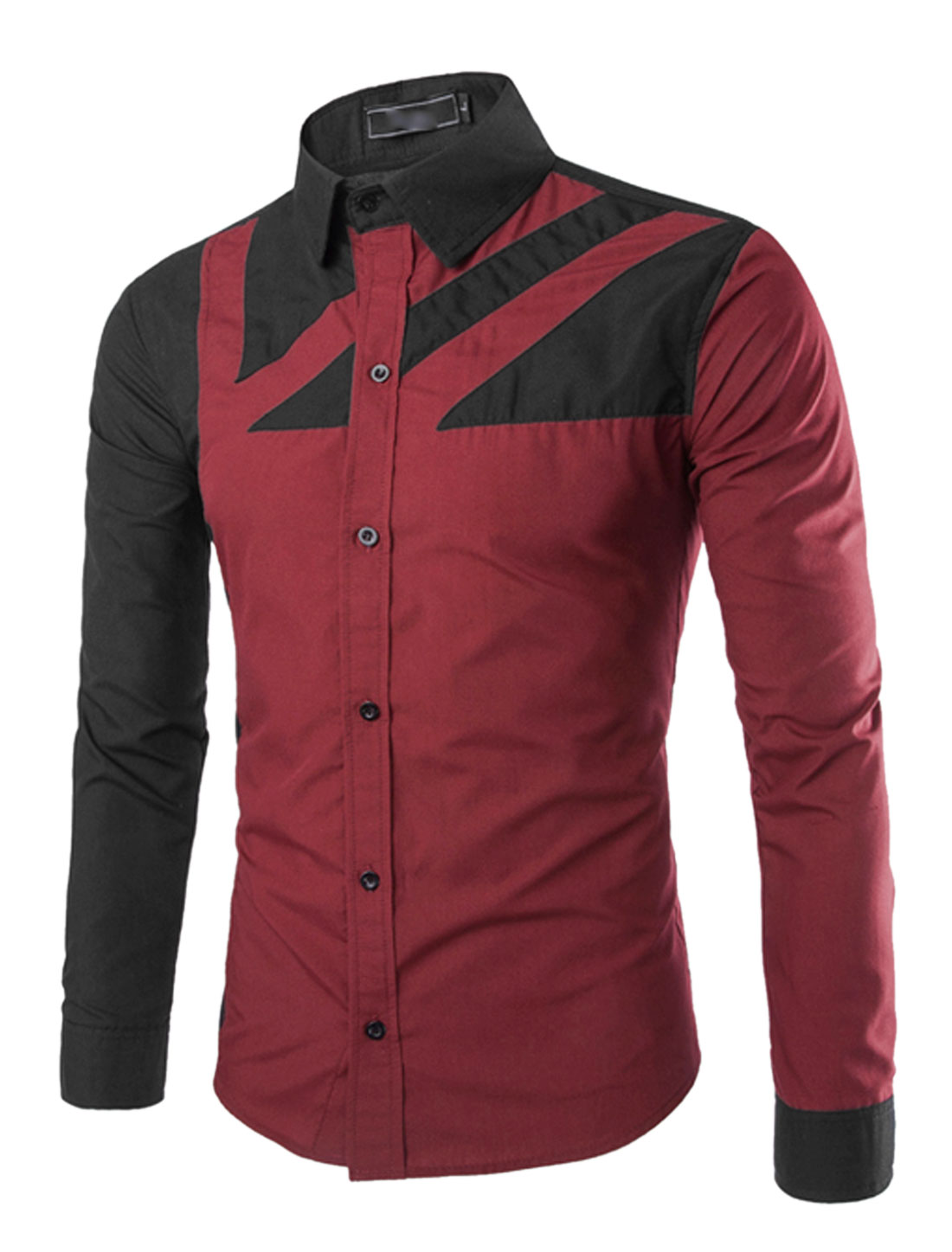 Men Long Sleeve Point Collar Button Down Slim Fit Casual Shirt Burgundy S