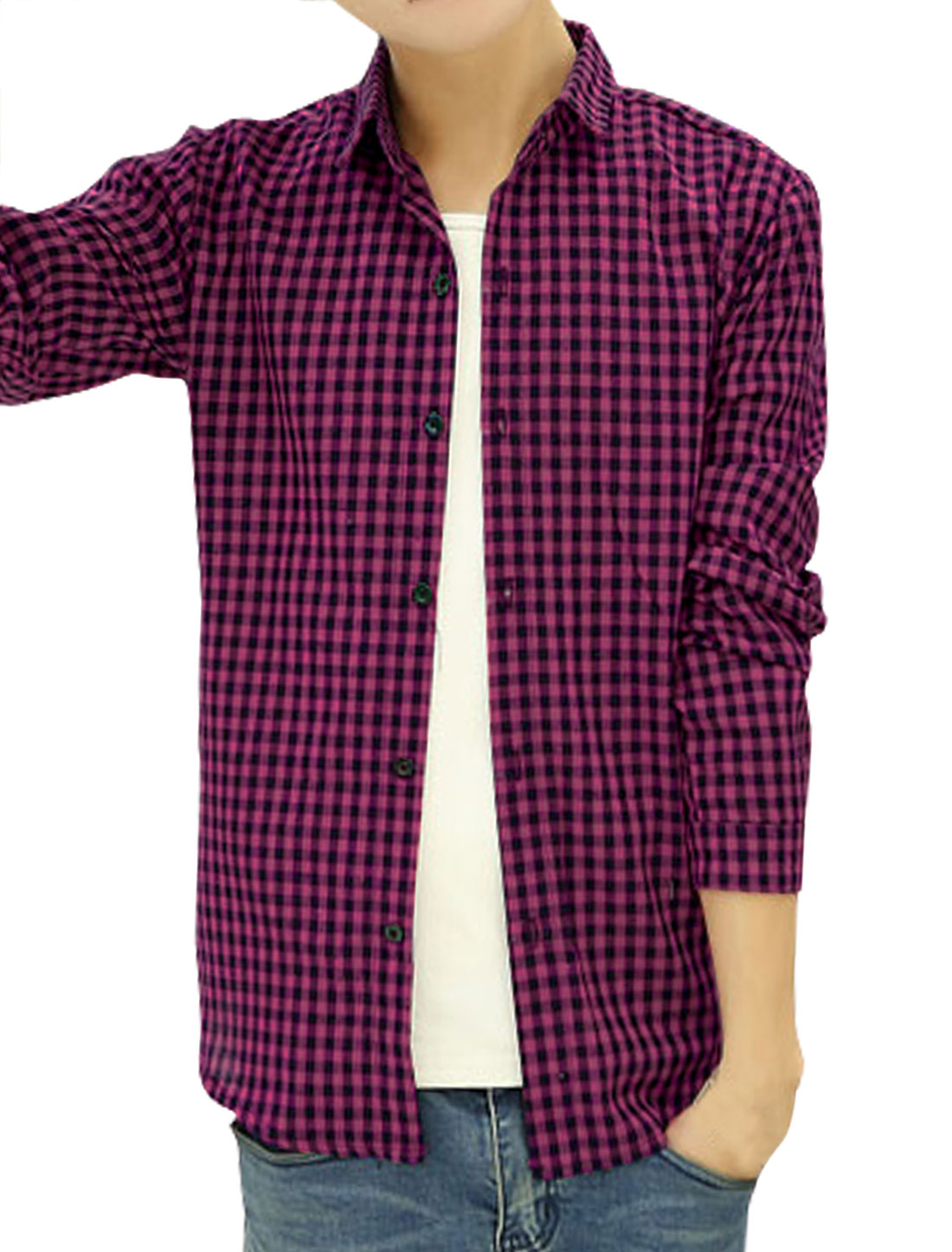 Men Long Sleeves Point Collar Single Breasted Casual Plaid Shirt Fuchsia S
