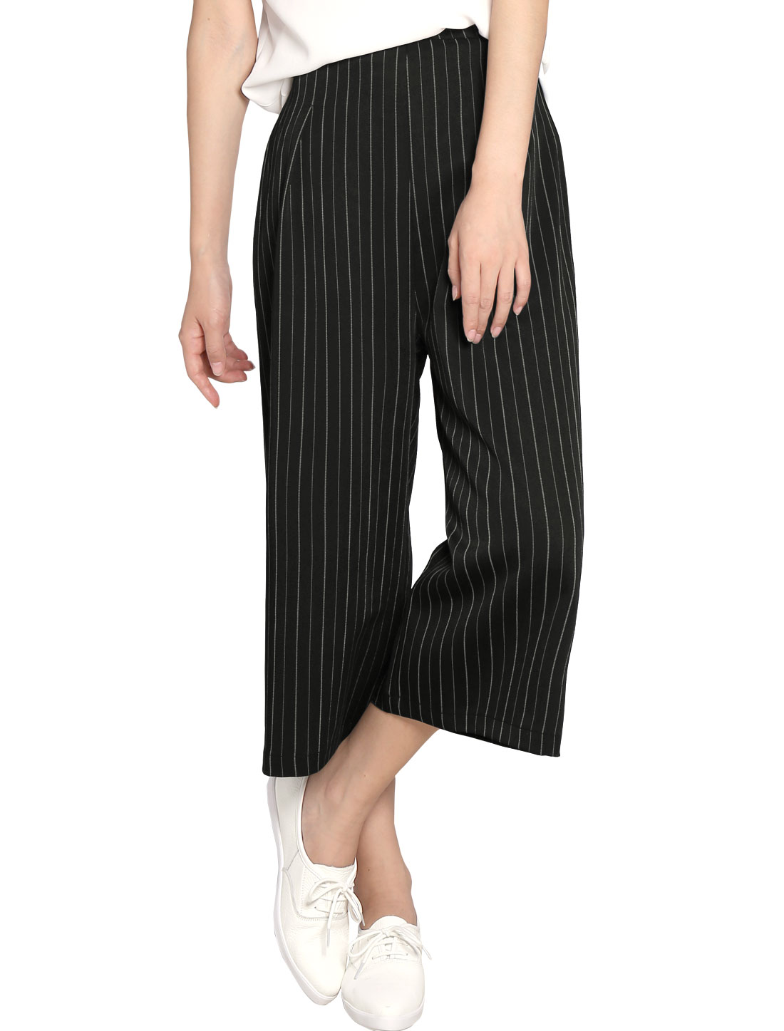 Allegra K Women Capris Vertical Stripes Wide Leg Pants Black XS