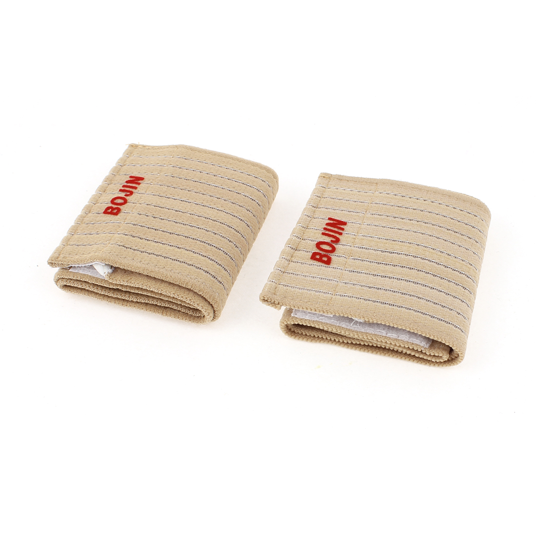 2Pcs Stripes Pattern Fitness Elastic Wrist Support Strap Beige