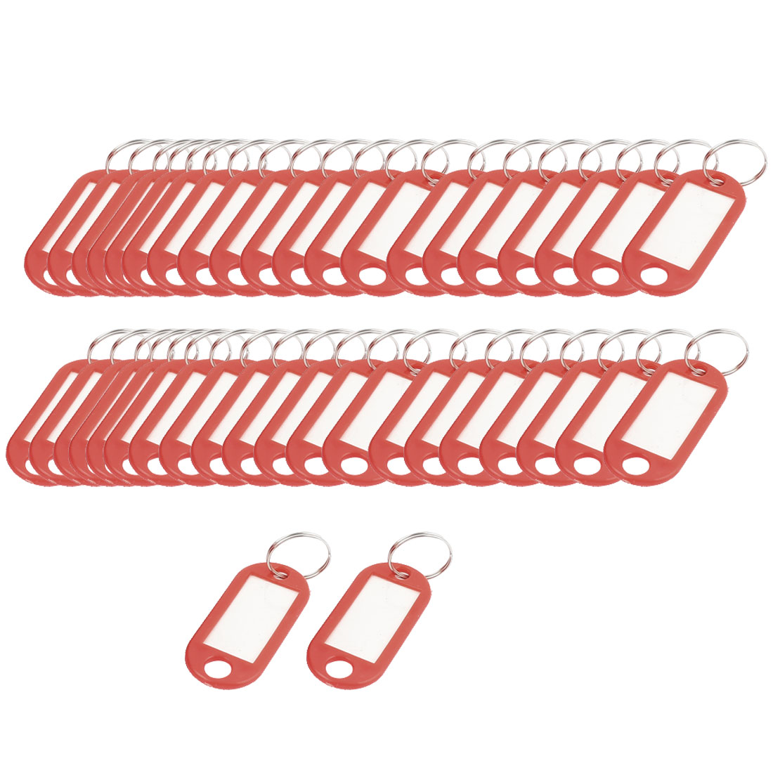 50Pcs Plastic ID Label Name Key Tag Split Ring Red