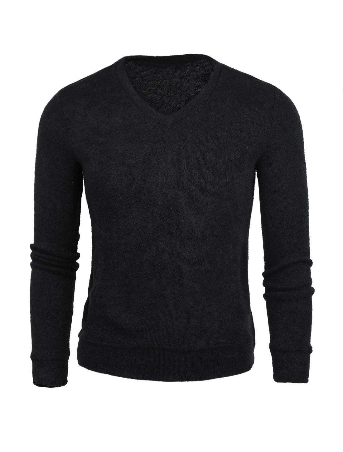 Men V Neck Long Sleeves Slim Fit Knit Top Black L