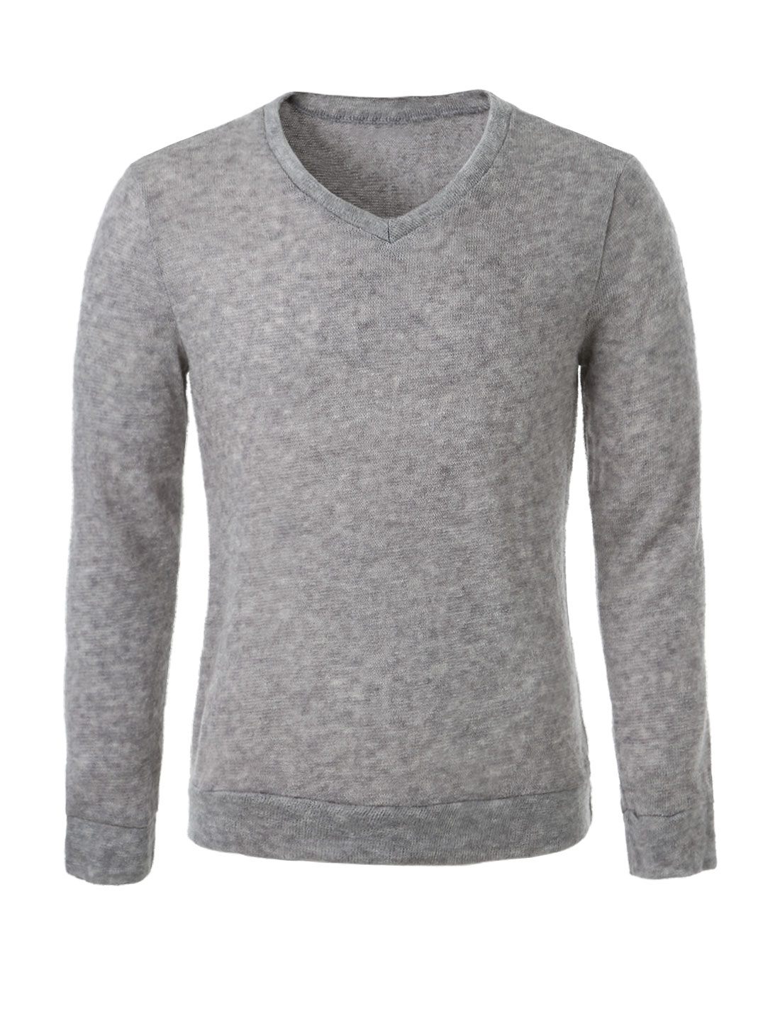 Man Long Sleeves Slim Fit Casual V-neck Sweater Heather Gray L
