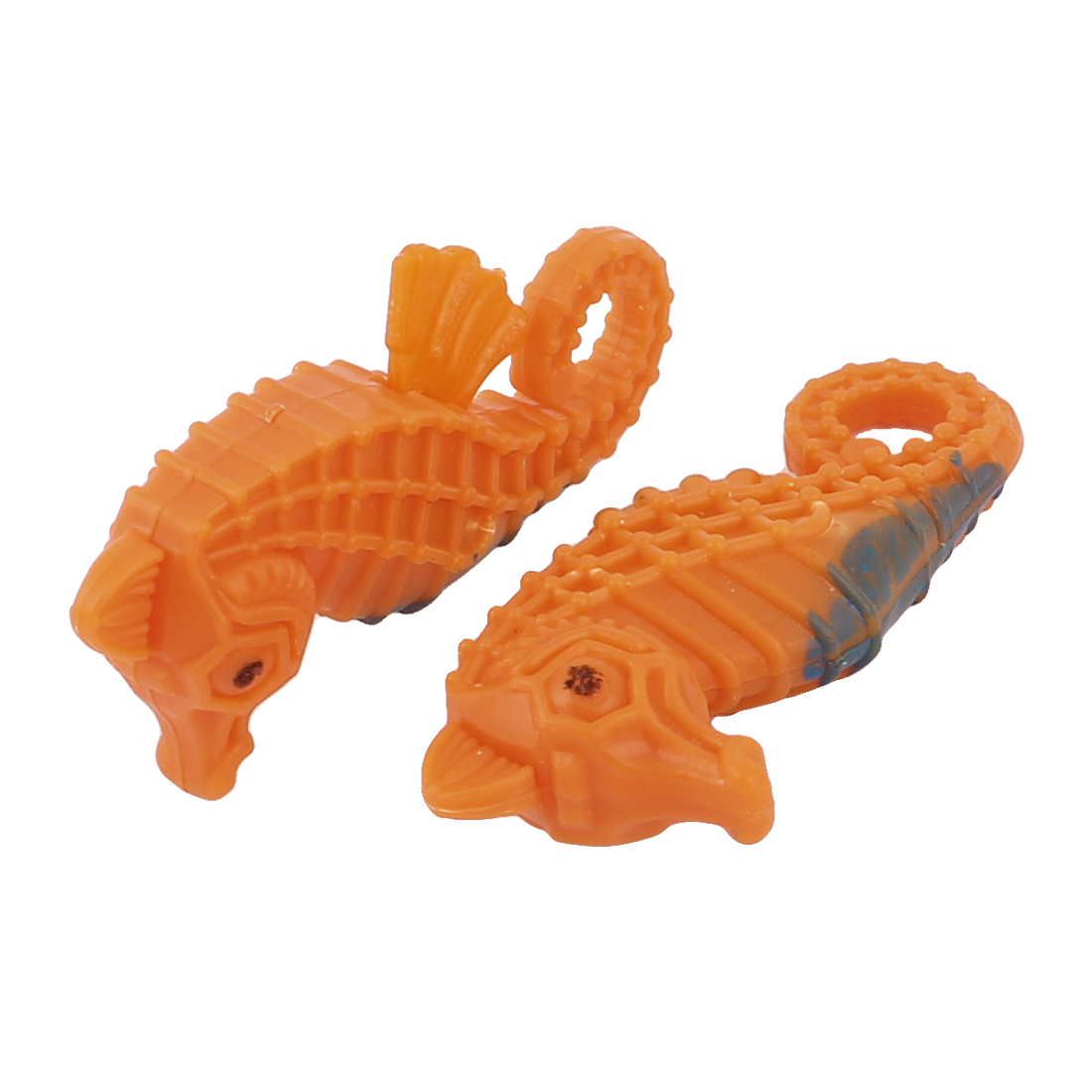 2 Pcs Orange Plastic Floating Aquarium Fish Tank Seahorse Sea Horse Ornament