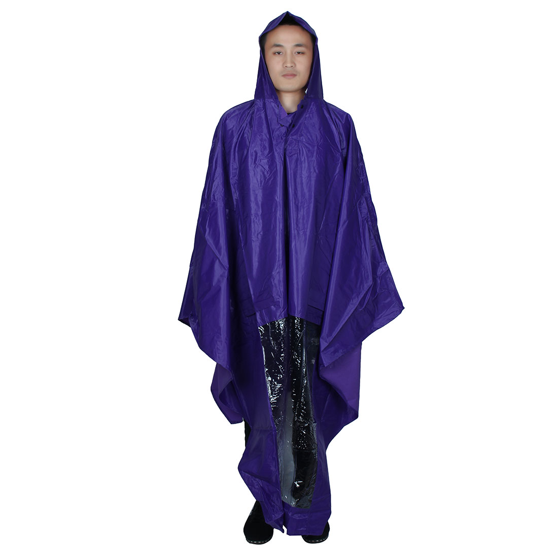 Purple PVC Hooded Motorcycle Raincoat Rain Shadow Poncho