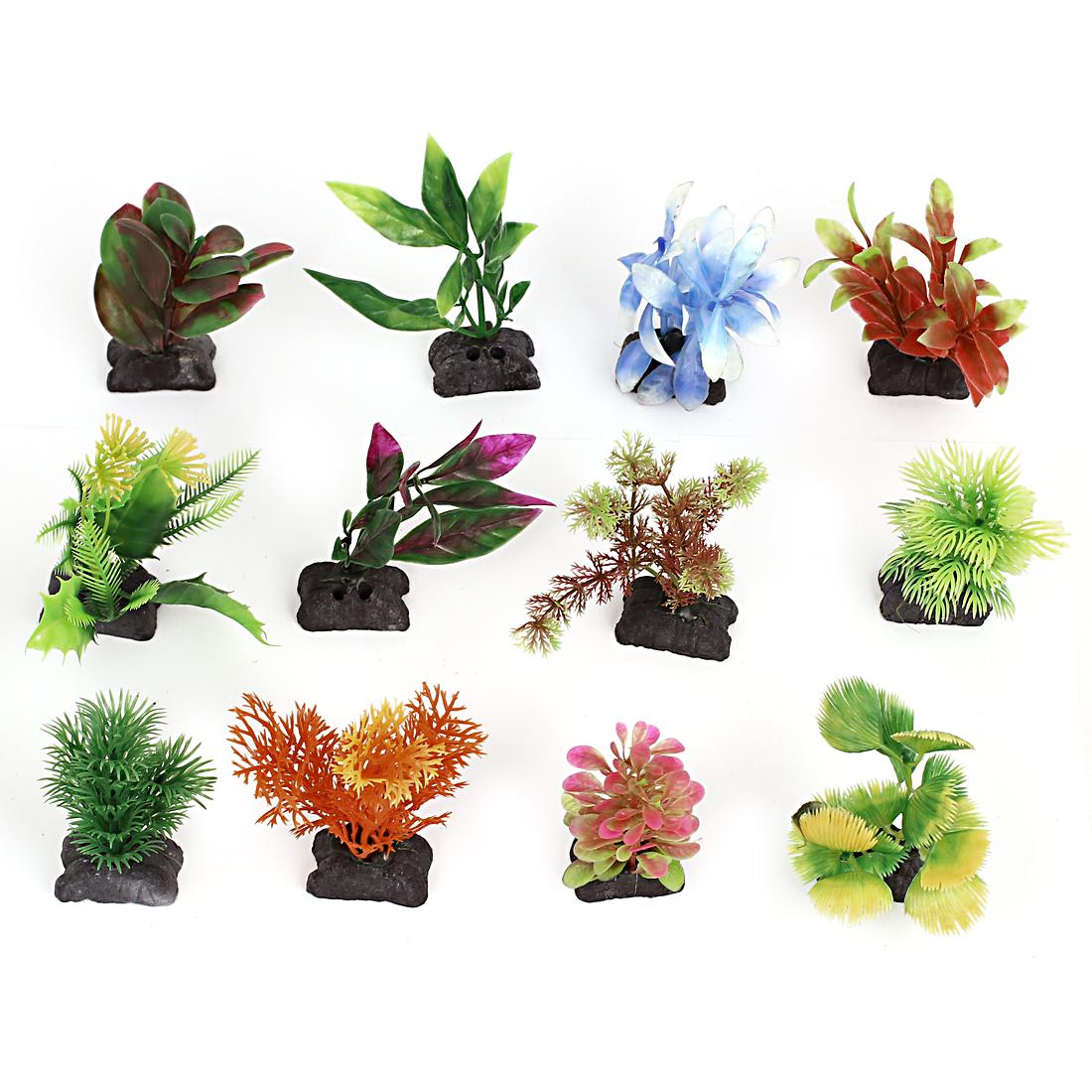 Aquarium Fish Tank Plastic Artificial Flower Grass Water Plant Decoration 12 PCS